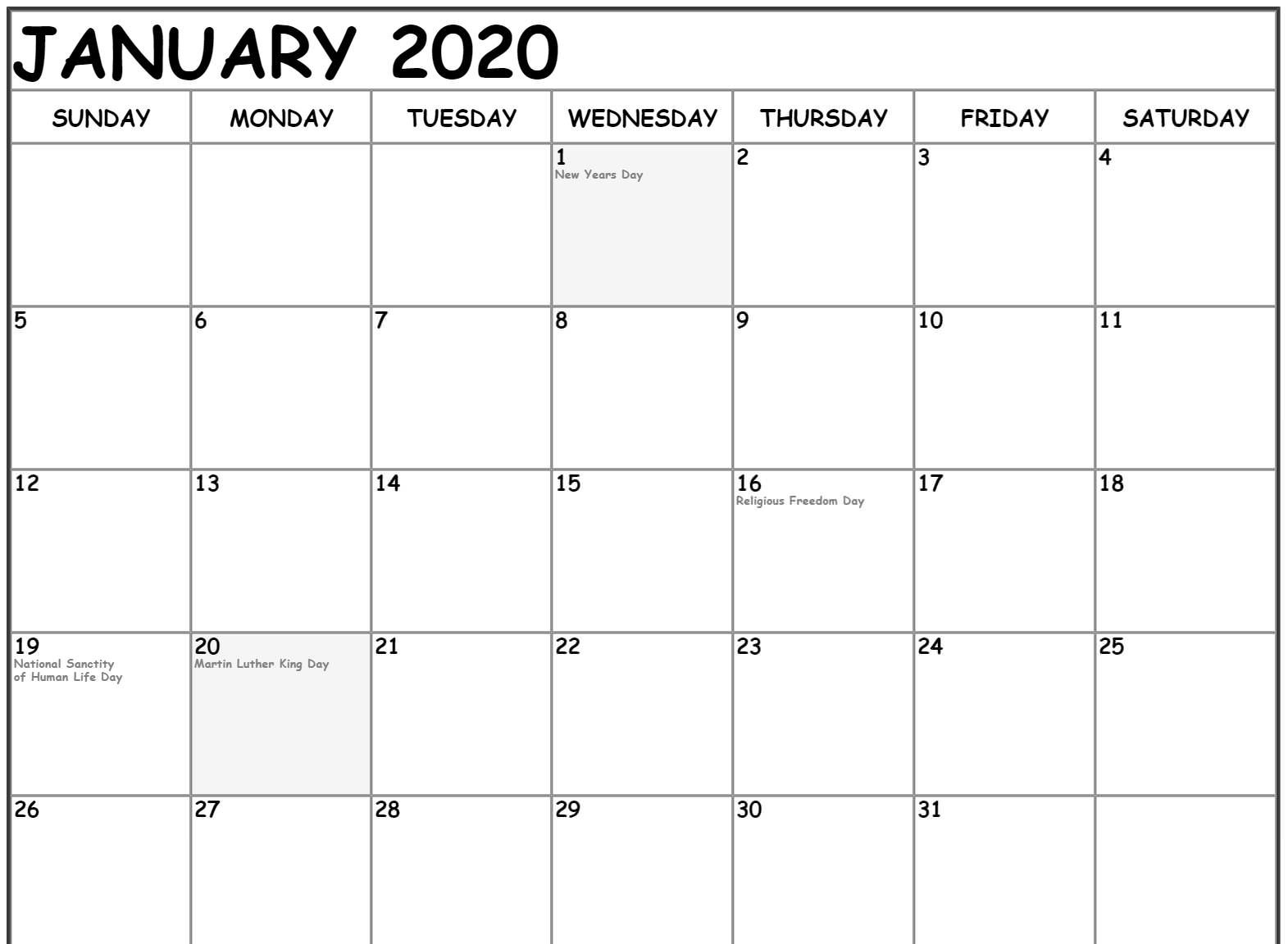 Free January Calendar 2020 Printable Template Download 1