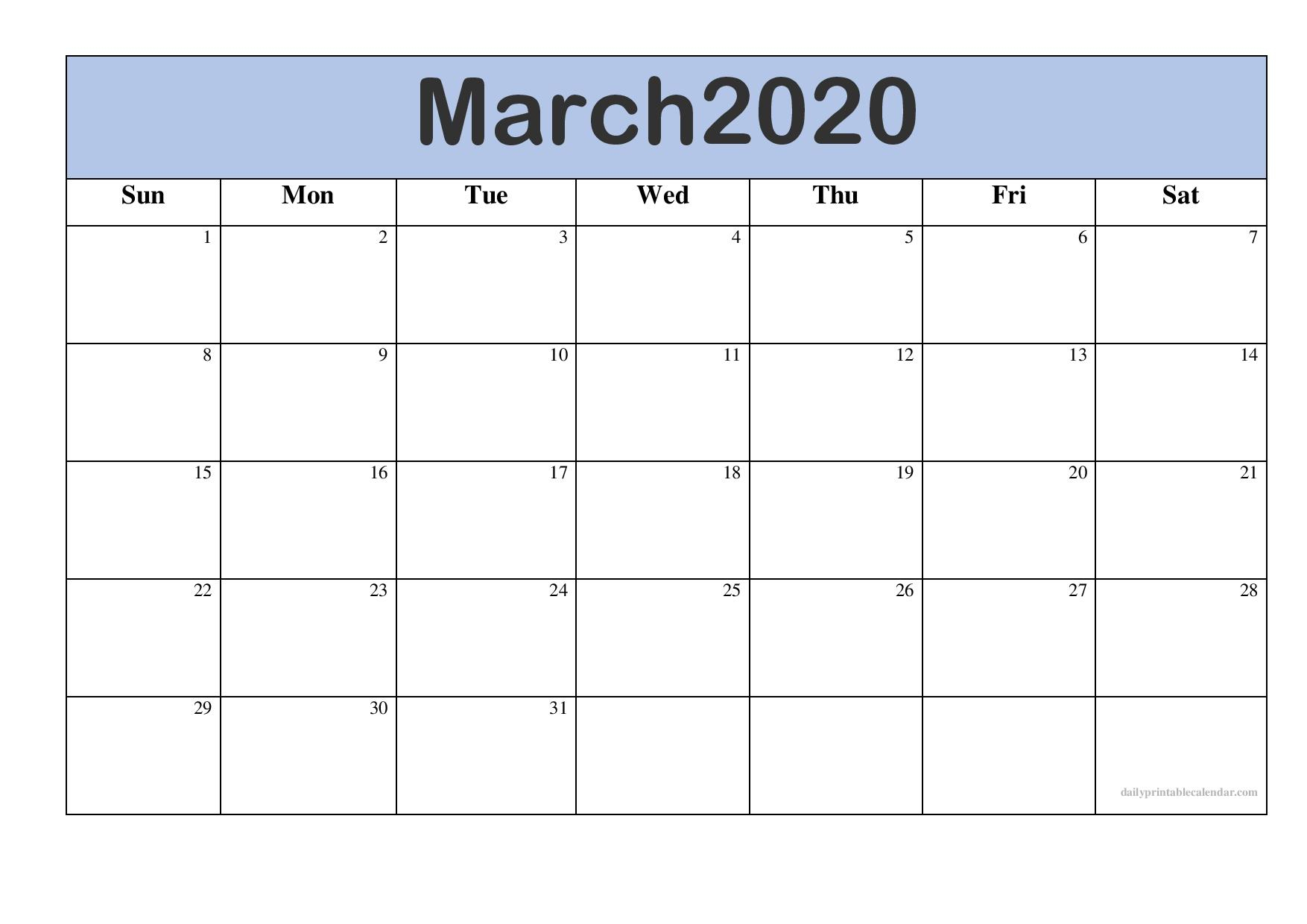 Free March 2020 Calendar Printable [Monthly Templates