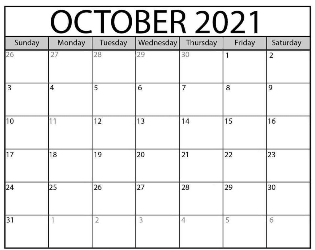 Free October Calendar 2021 Printable Template