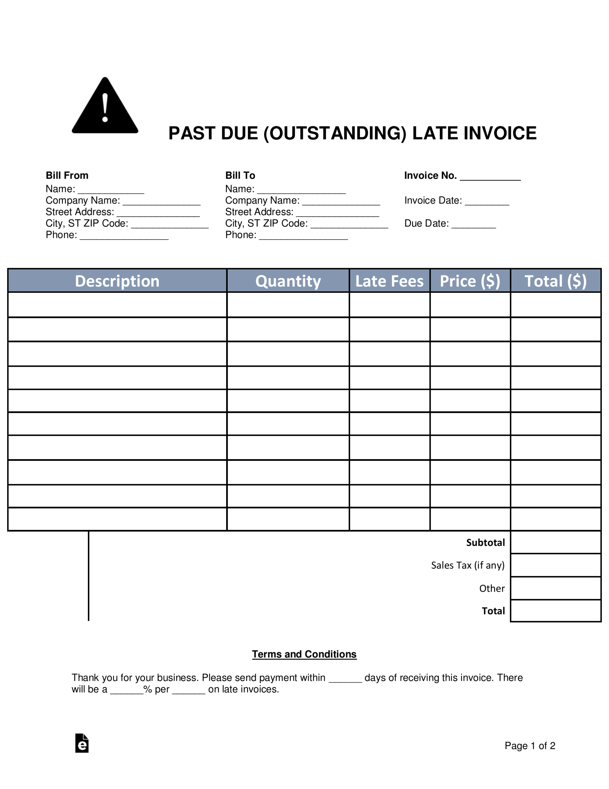 Free Past Due (Outstanding) Late Invoice - Word | Pdf – Eforms