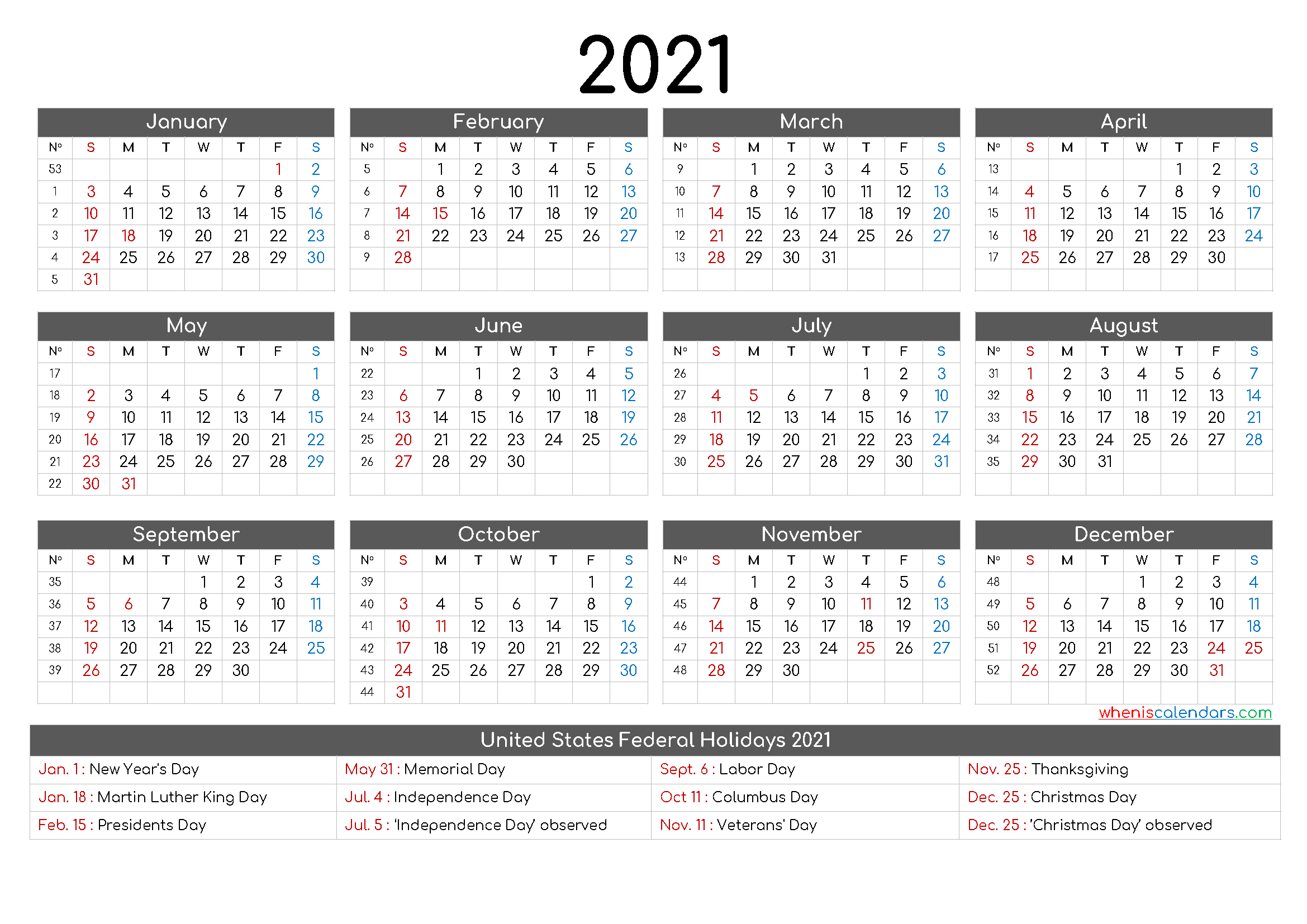 Free Printable 12 Month Calendar 2021 - 12 Templates