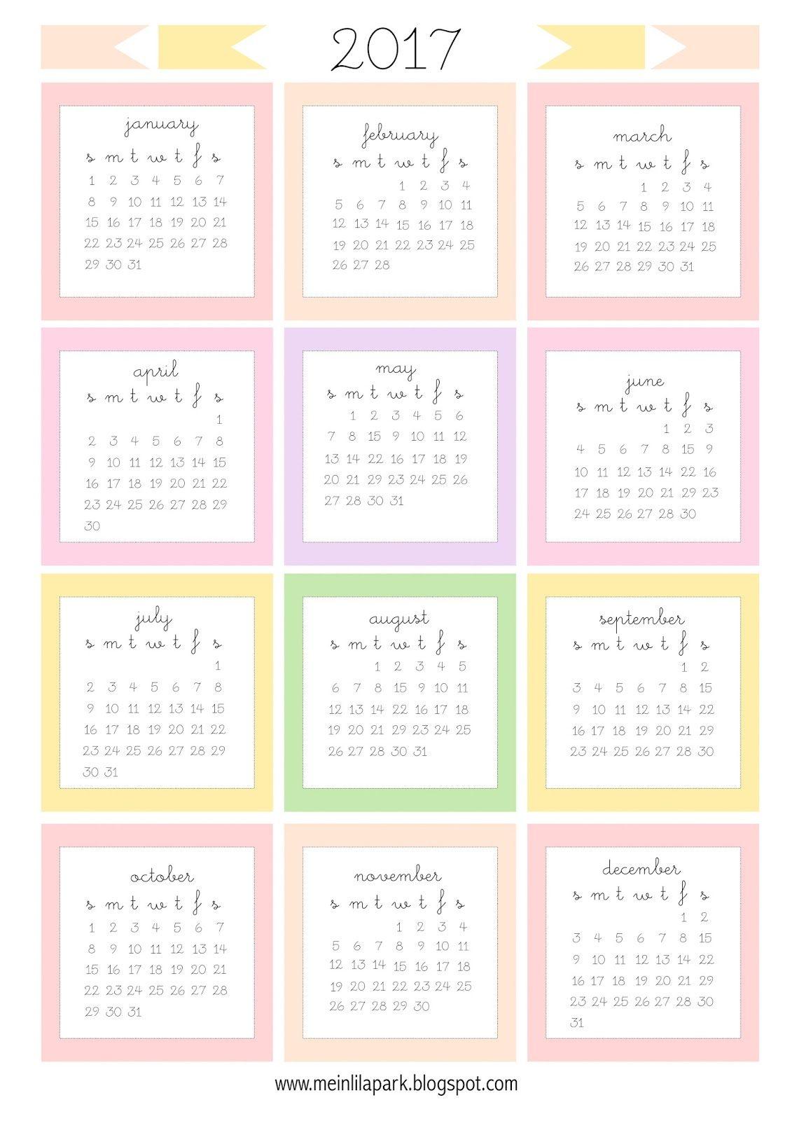 Free Printable 2017 Mini Calendar Cards - Bullet Journal