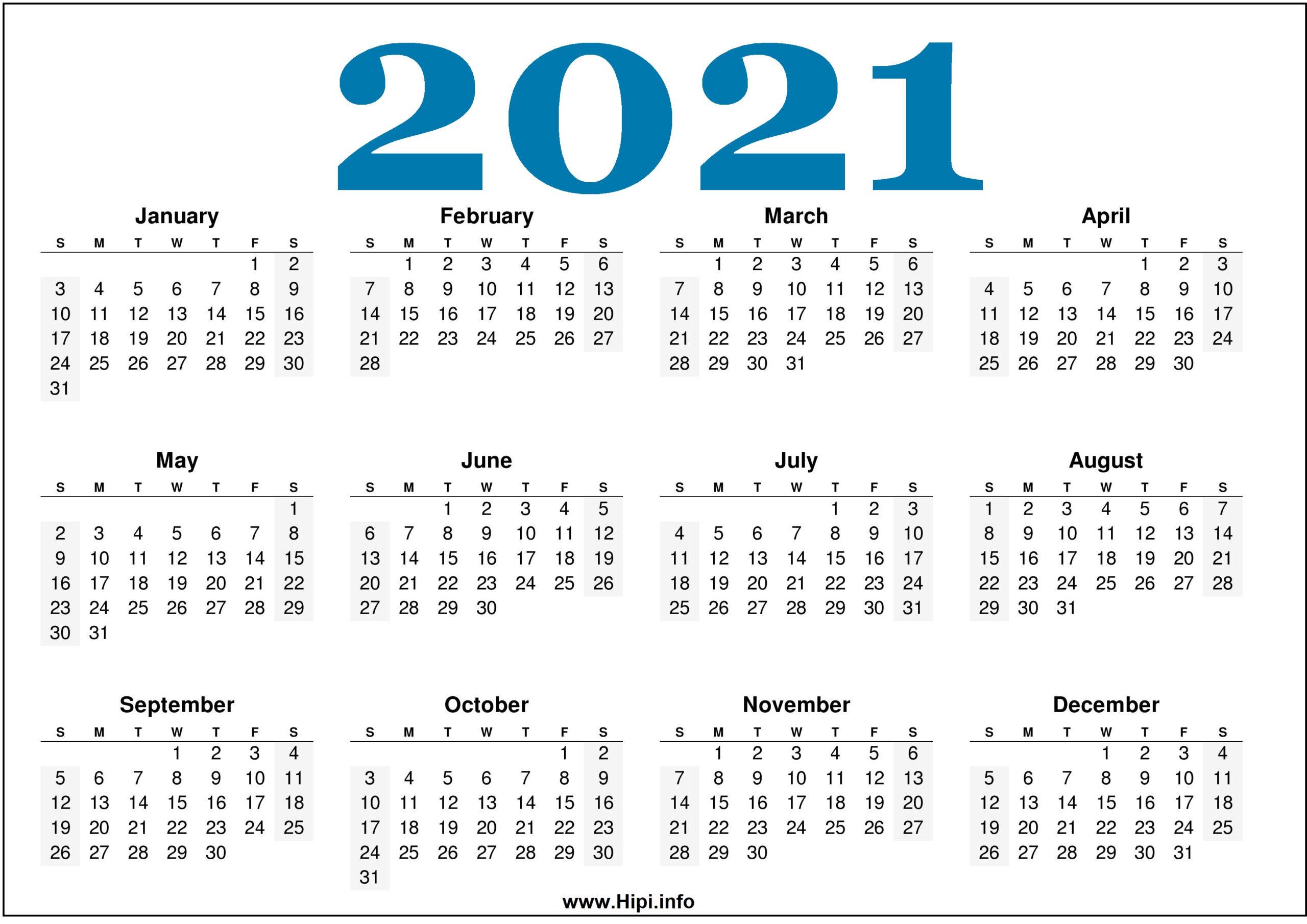 Free Printable 2021 Calendars Horizontal - Hipi
