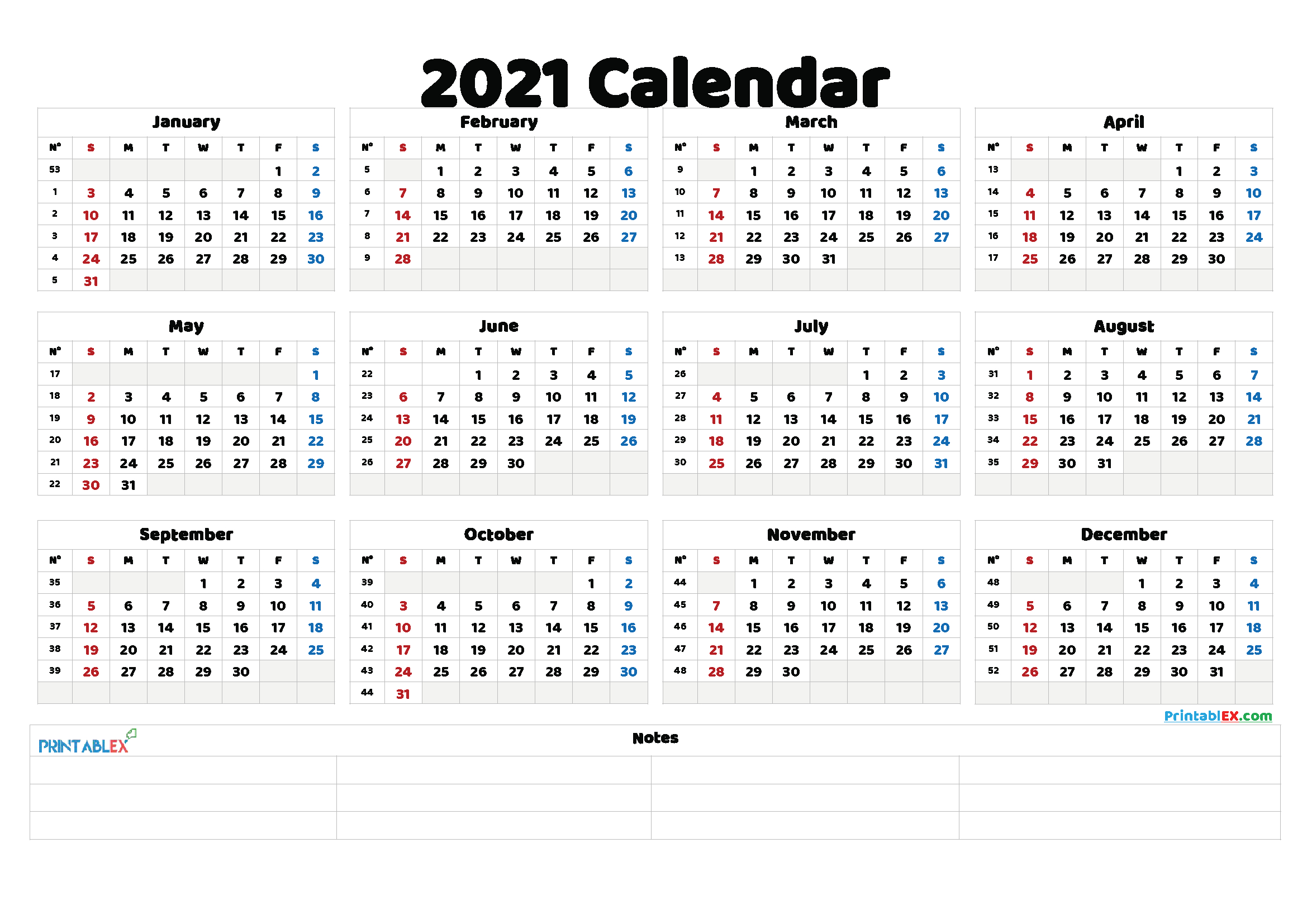 Free Printable 2021 Yearly Calendar – 21Ytw137 | Printable