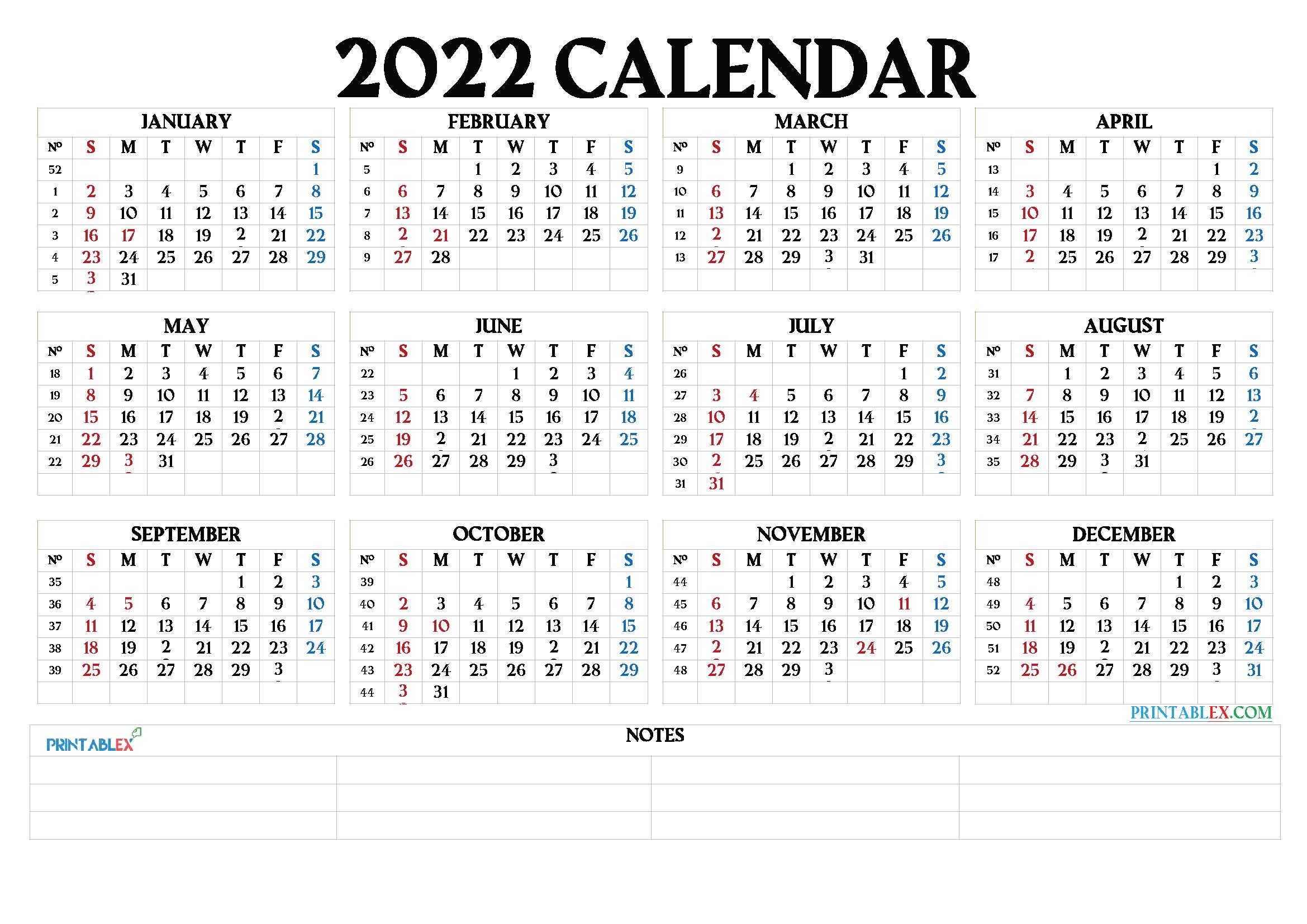 Free Printable 2022 Calendarmonth – 6 Templates – Free