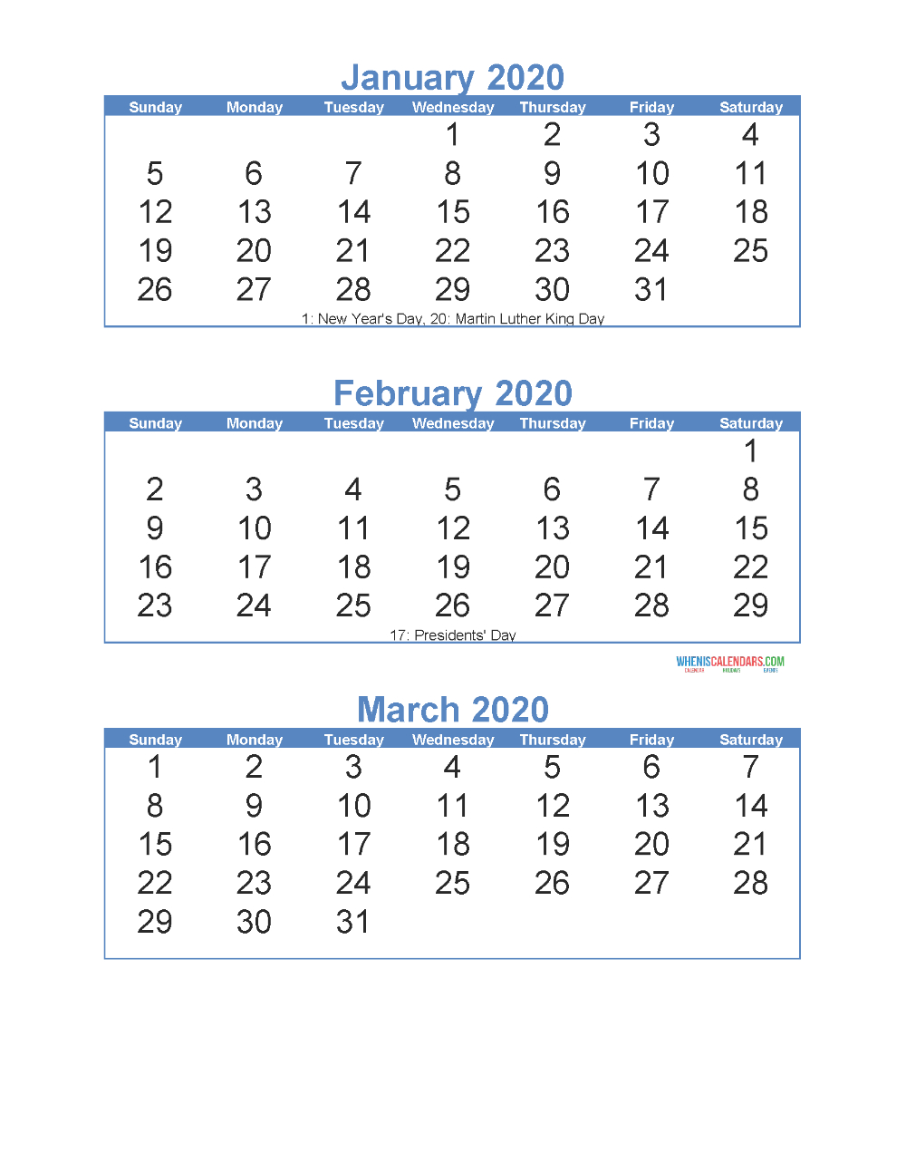Free Printable 3 Month Calendar 2020 January February March