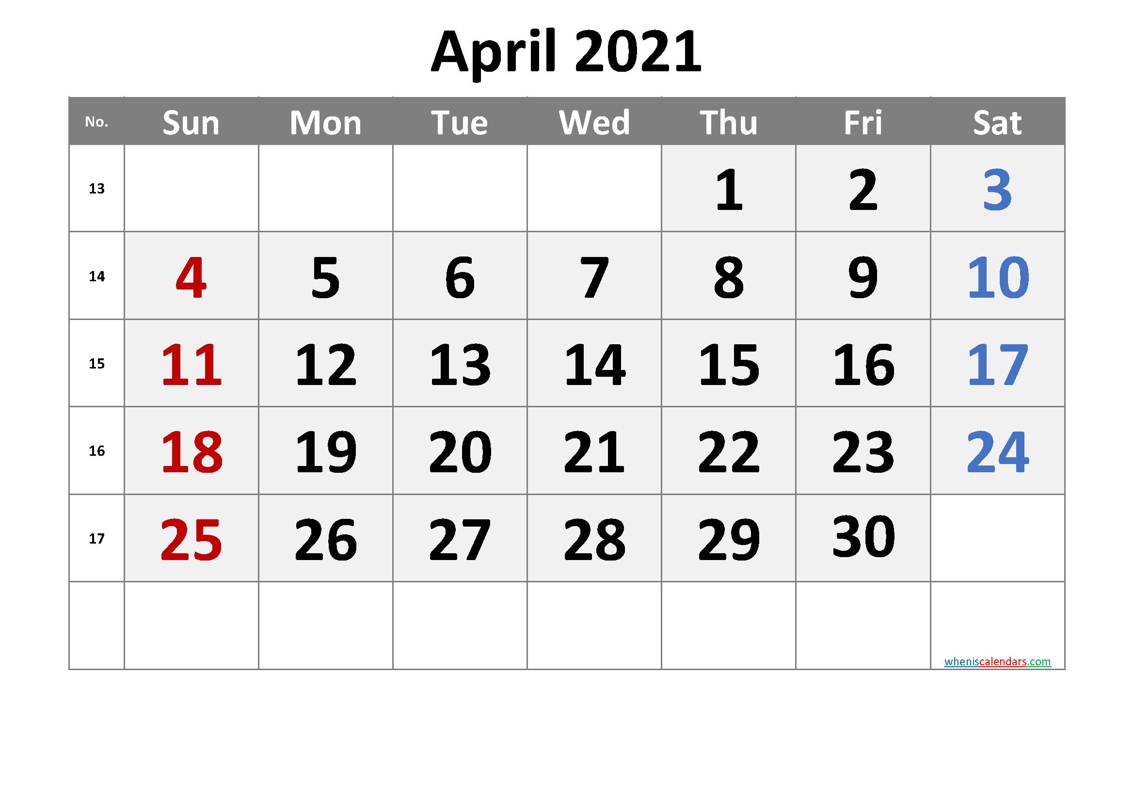 Free Printable April 2021 Calendar (Premium) | Monthly