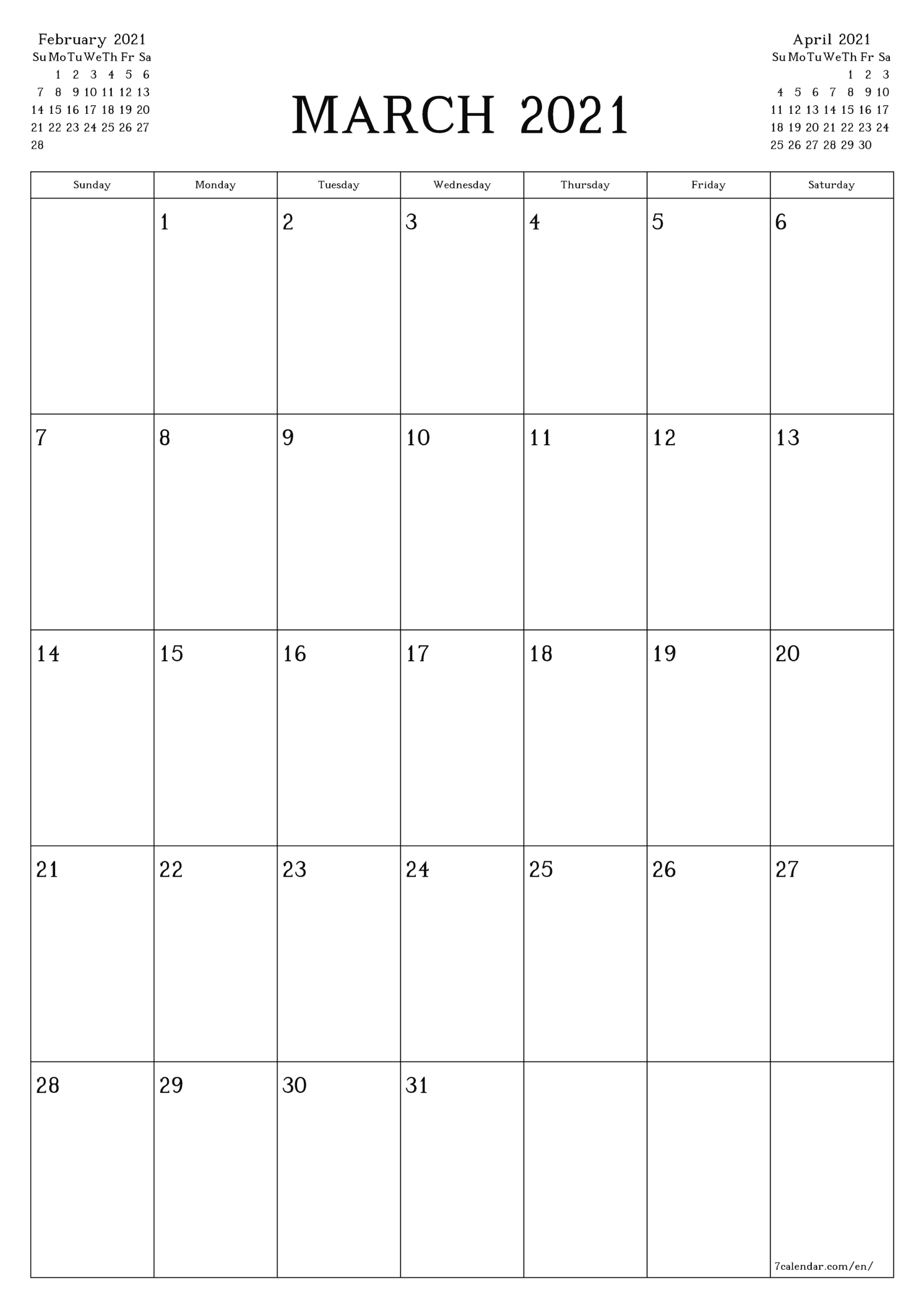 Free Printable Blank Monthly Calendar And Planner For March