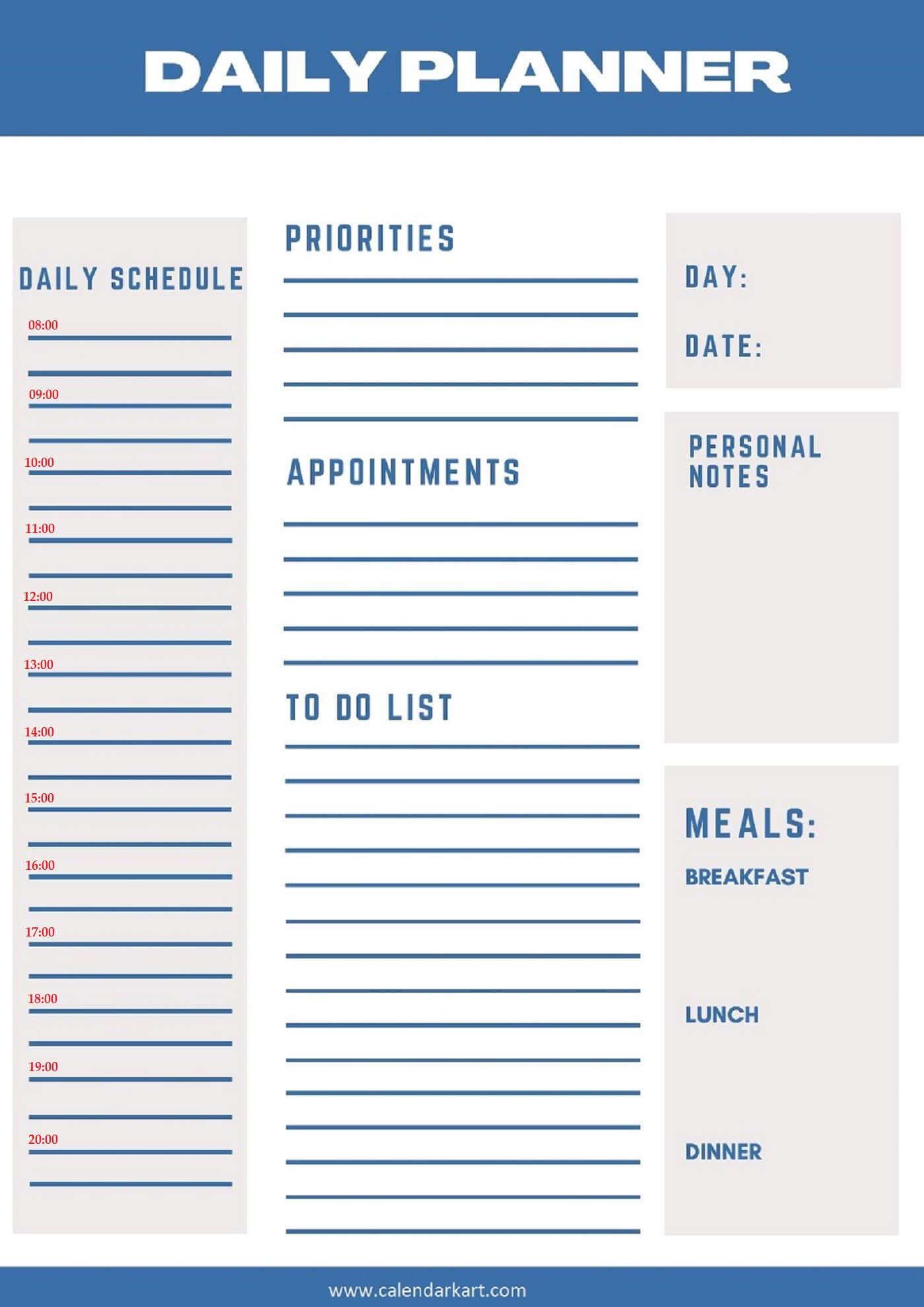 Free Printable Daily Planner 2021 Templates » Calendarkart