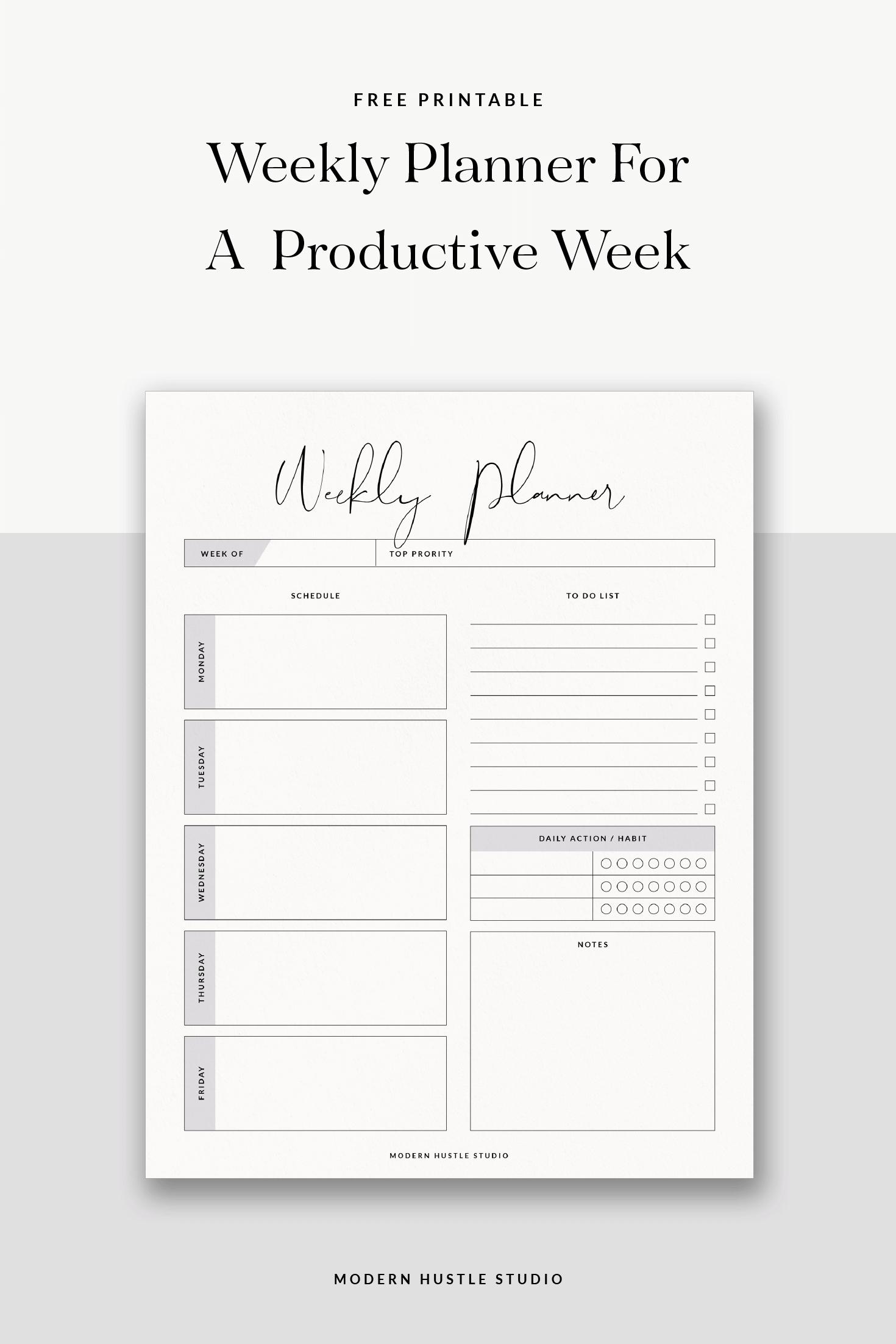 Free Printable + Digital Weekly Planner – Modern Hustle