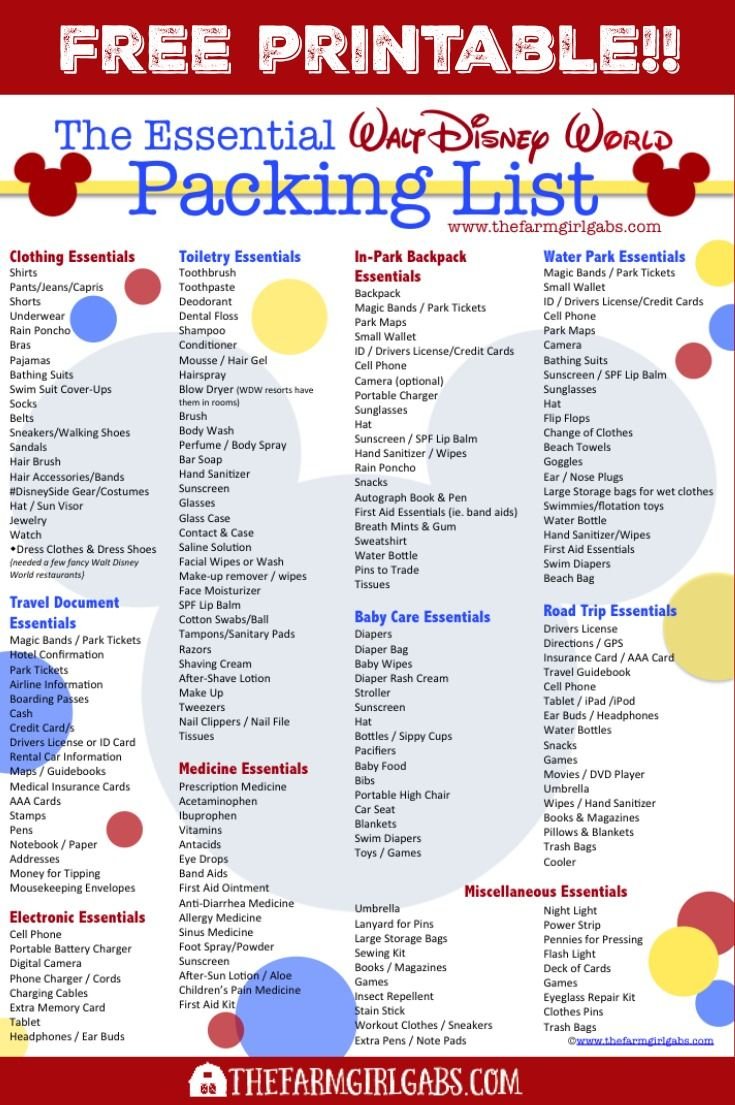 Free Printable Disney Packing List | Disney World Packing