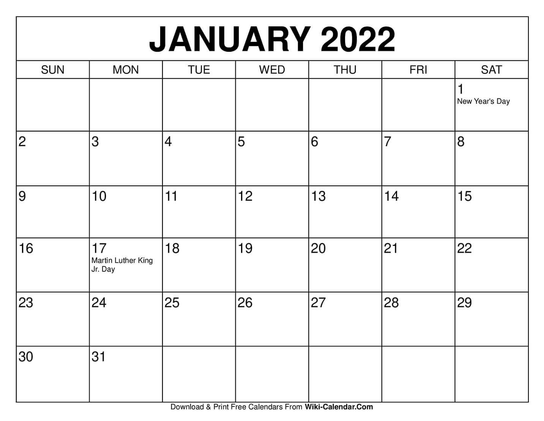 Free Printable January 2021 Calendars