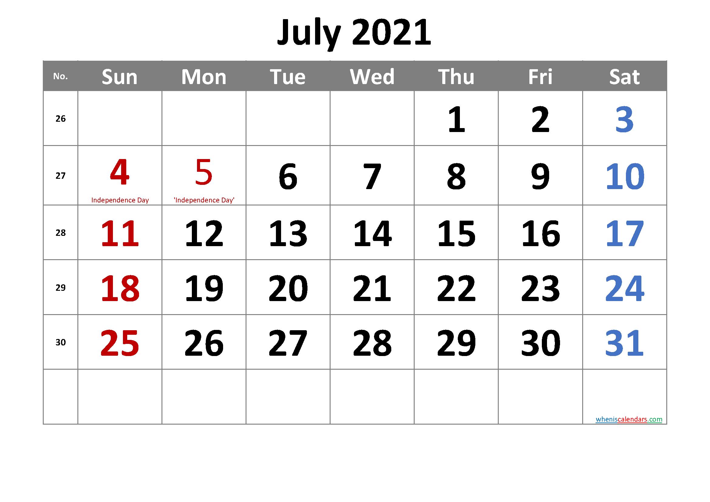 Free Printable July 2021 Calendar | Monthly Calendar