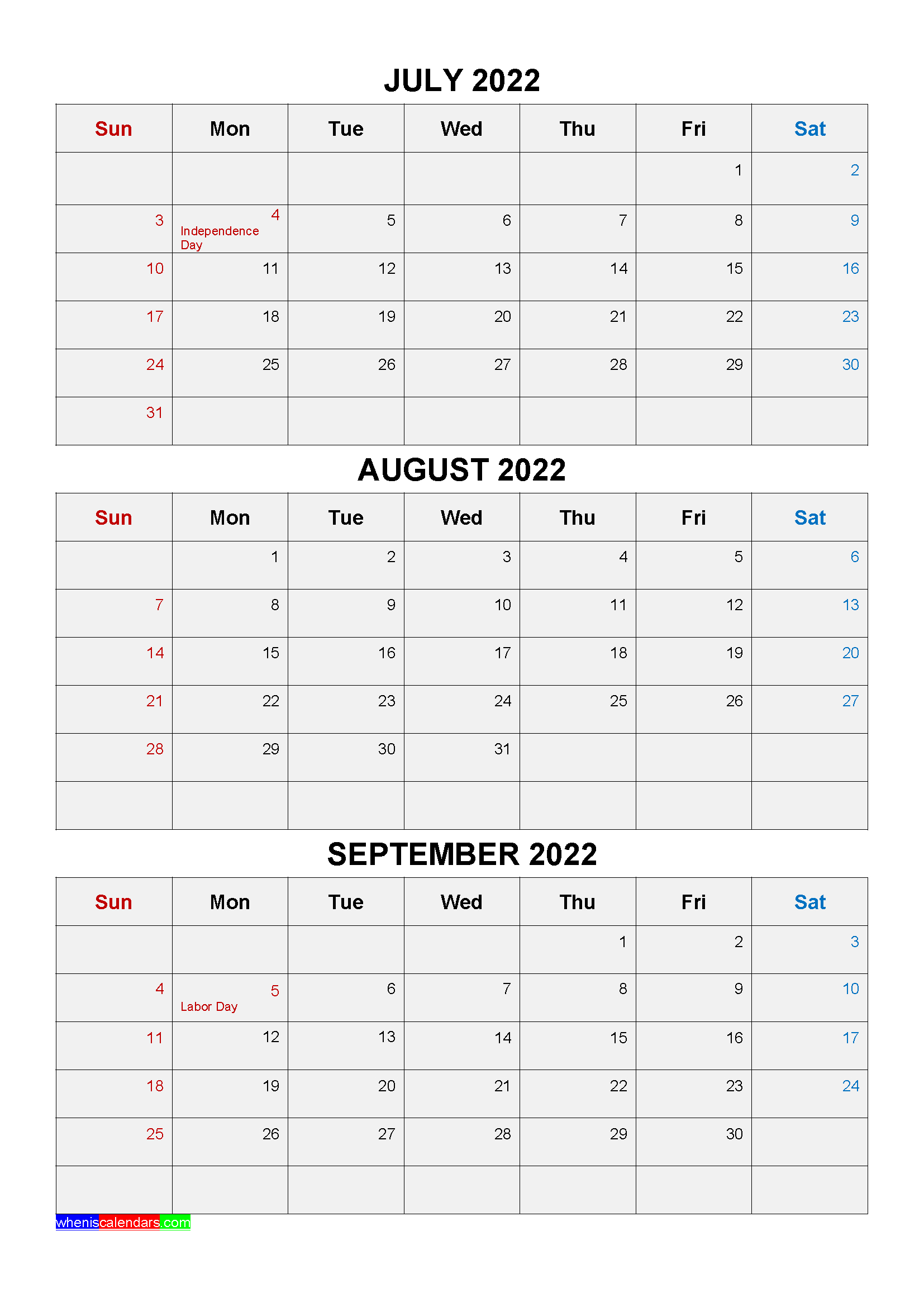 Free Printable July August September 2022 Calendar 3 Months