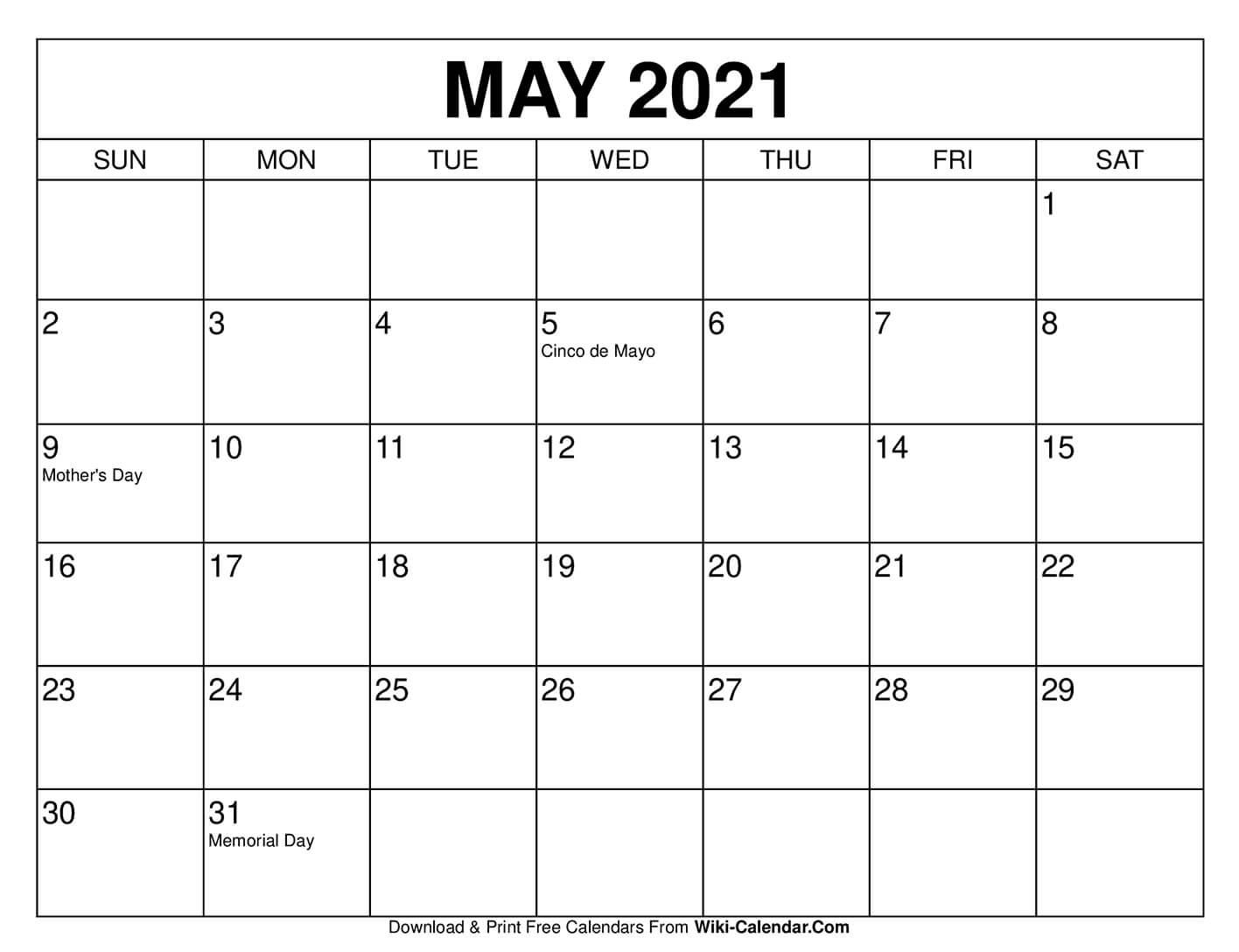 Free Printable May 2021 Calendars