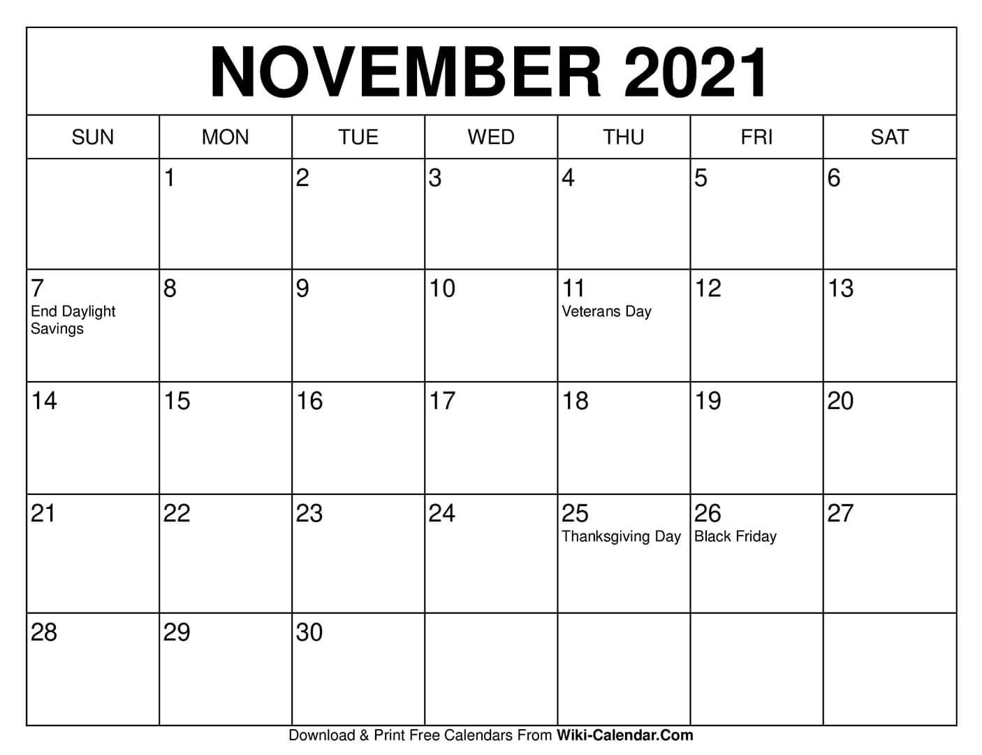 Free Printable November 2020 Calendars