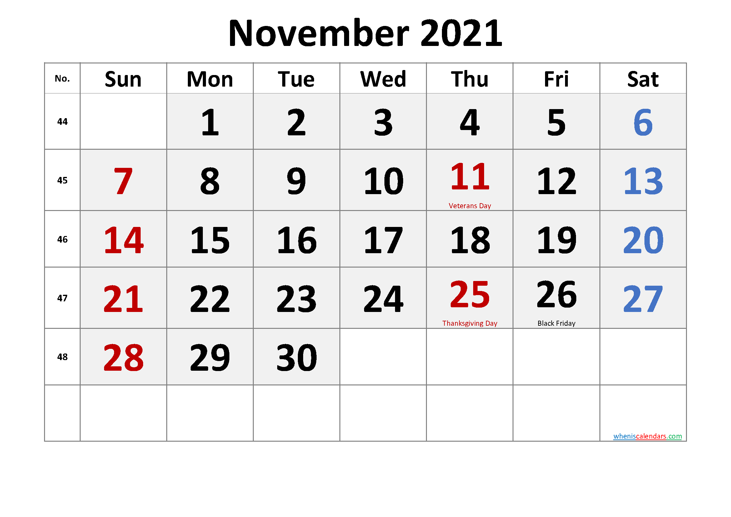 Free Printable November 2021 Calendar Pdf-Template No