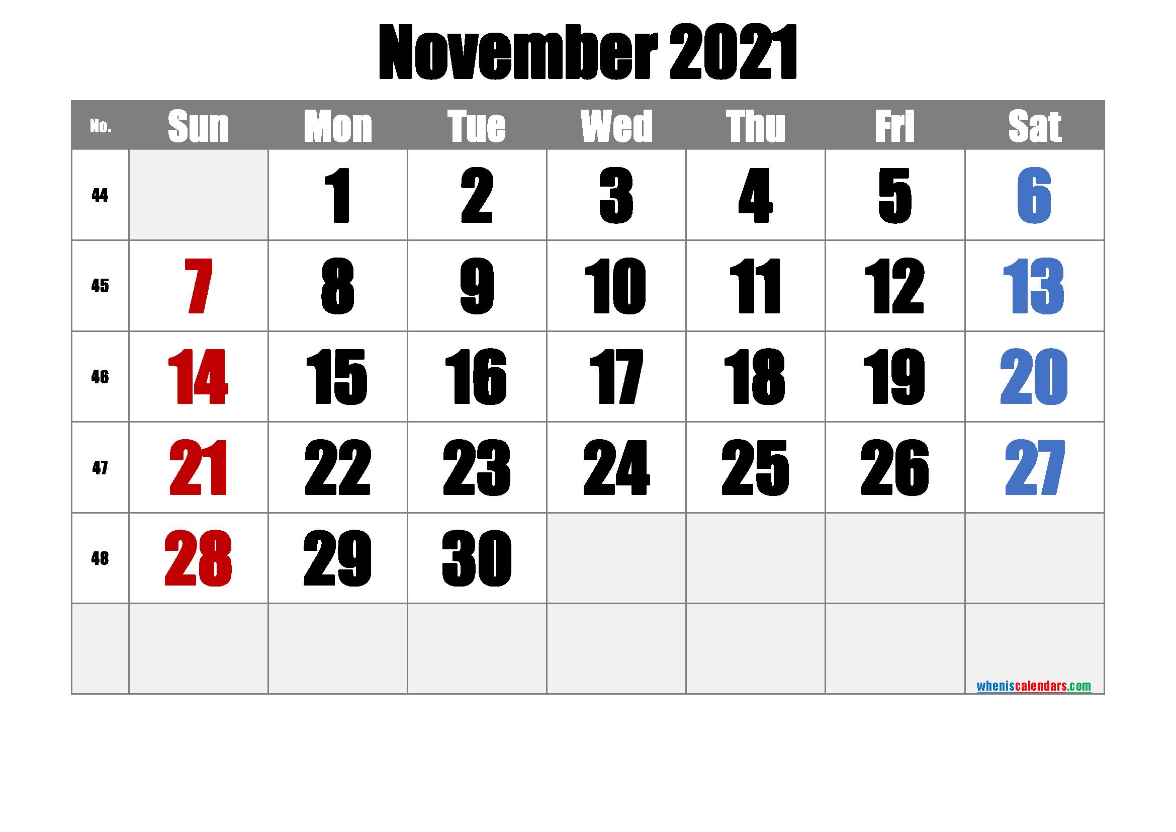 Free Printable November 2021 Calendar (Premium) | Calendar