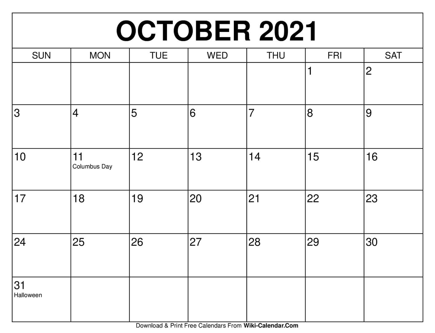 Free Printable October 2021 Calendars