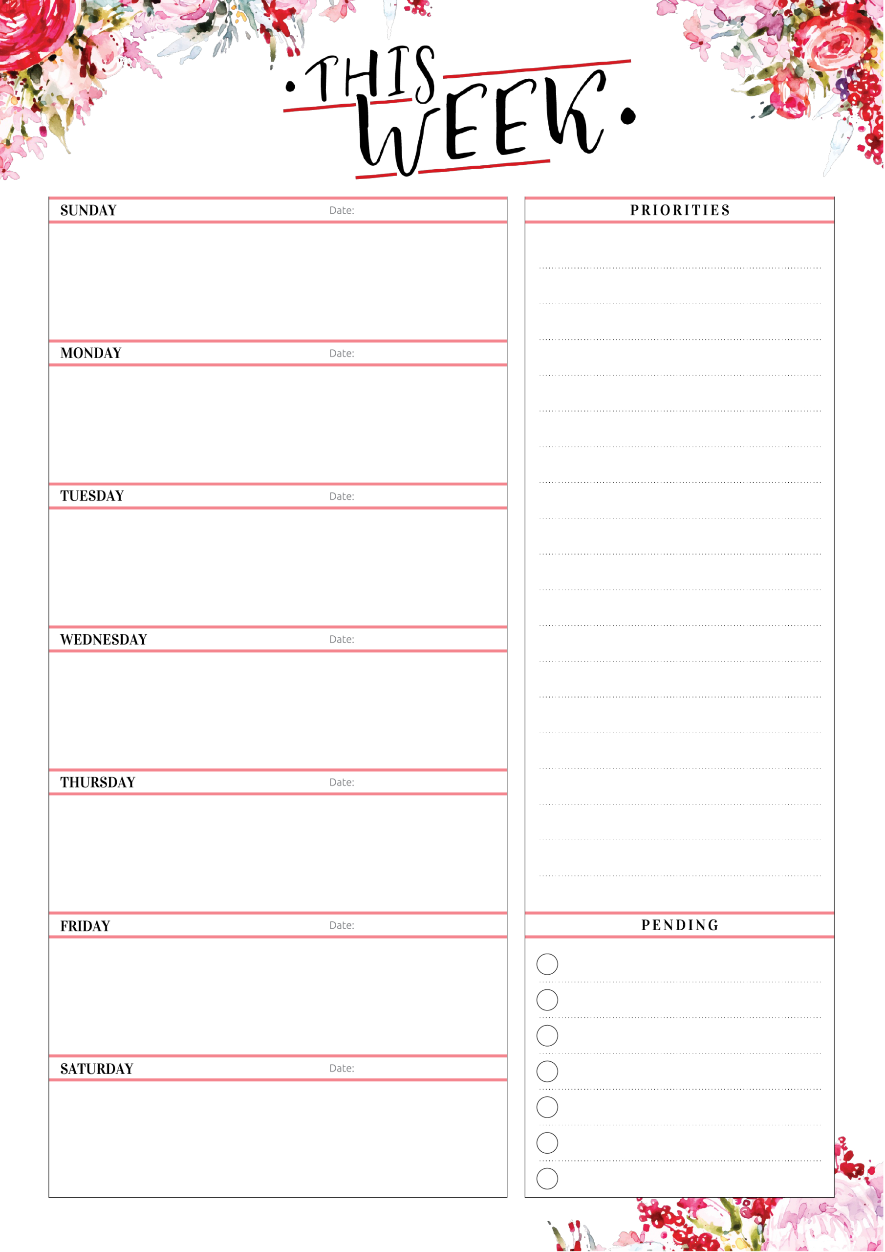 Free Printable Weekly Planner With Priorities Pdf Download