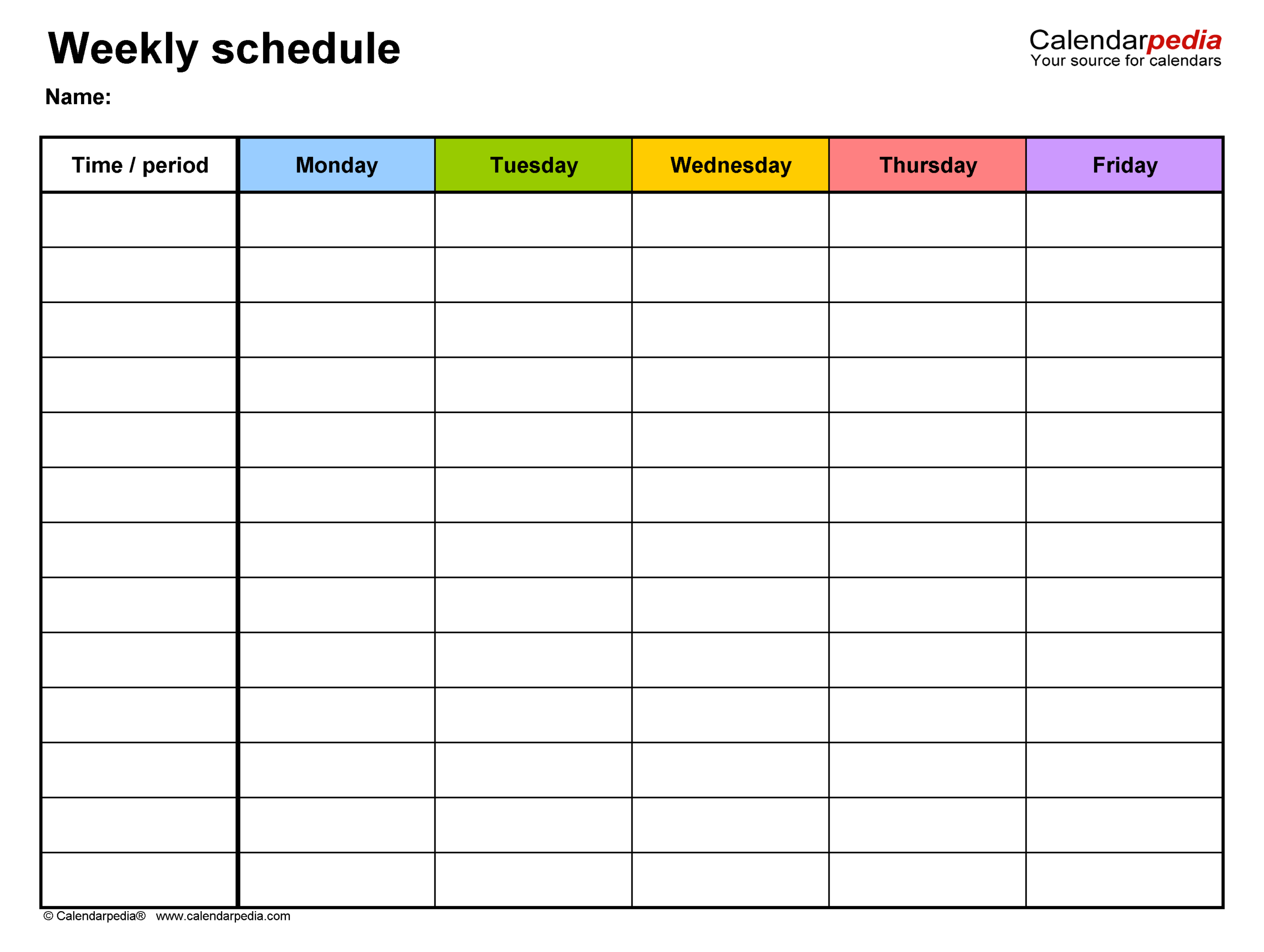 Free Weekly Schedules For Excel - 18 Templates