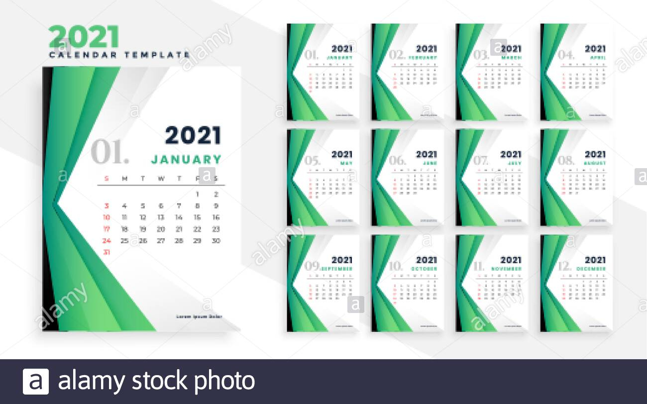 Geometric 2021 Modern Business Calendar Design Template
