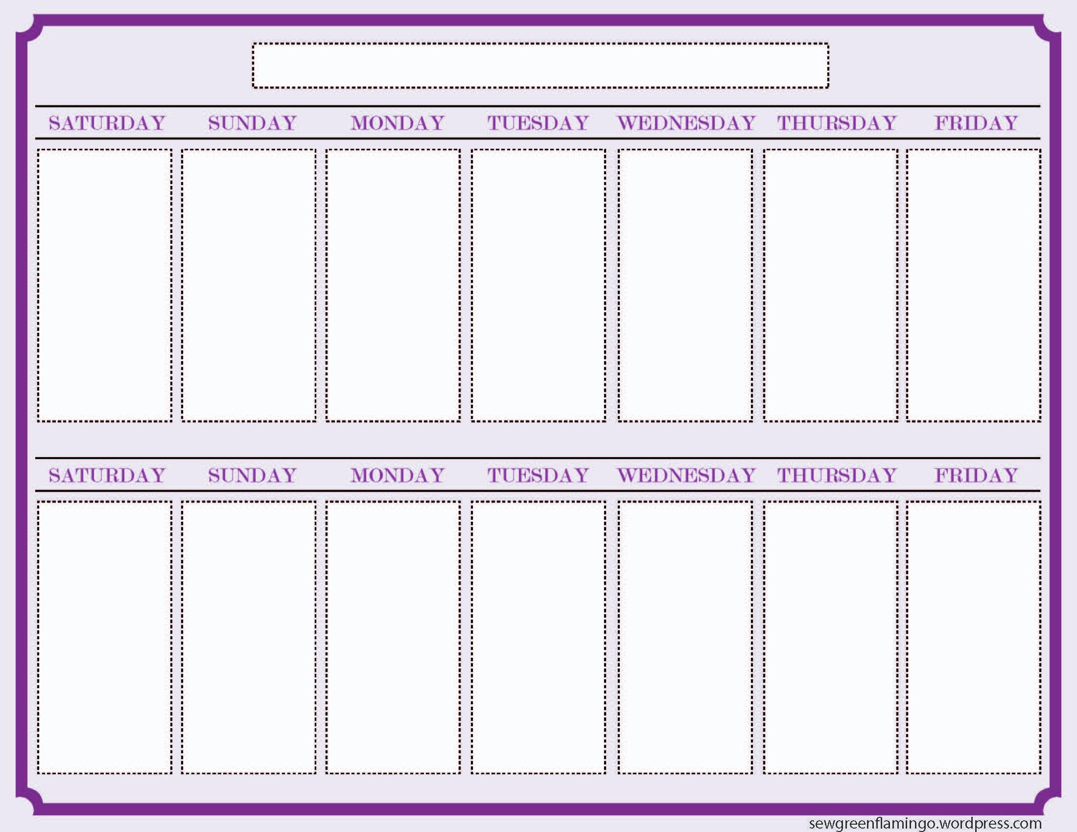 Getting Organized! 2-Week Planner | Free Weekly Calendar