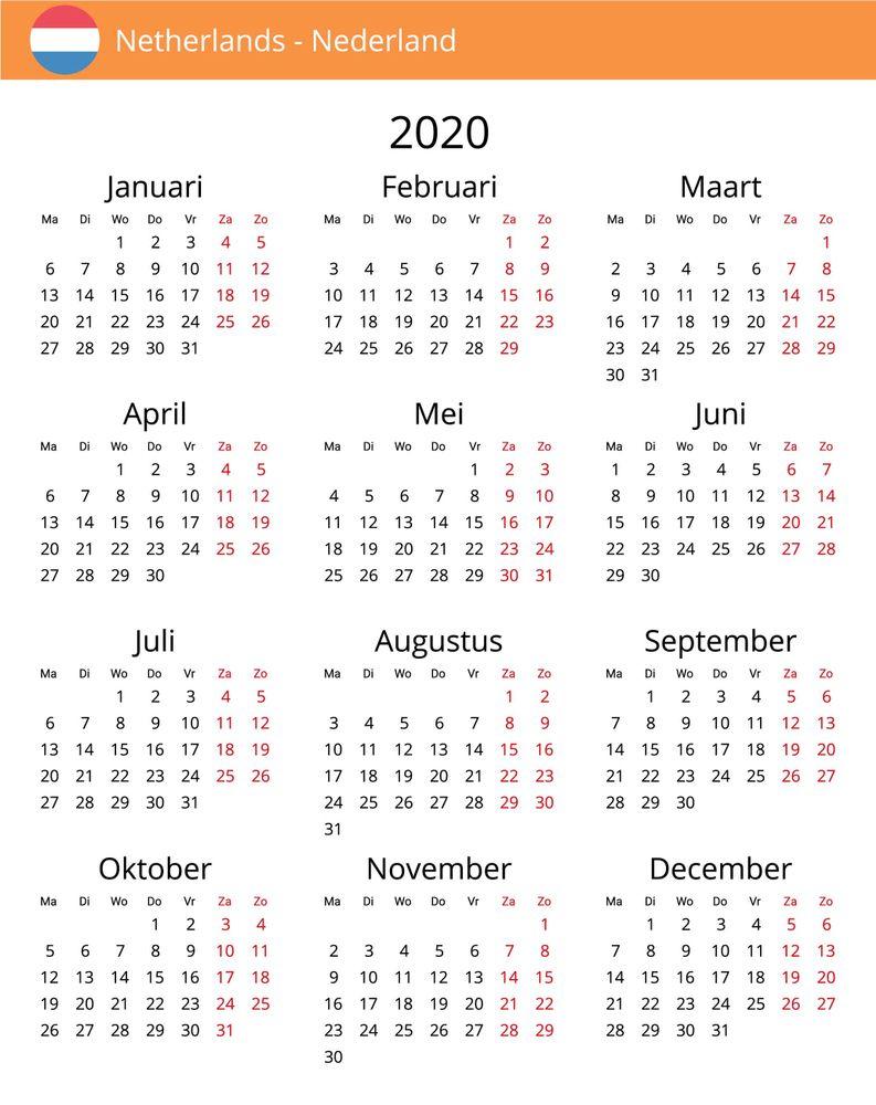 Gratis Kalender Nederland 2020 | Kostenlose Kalender, Gratis