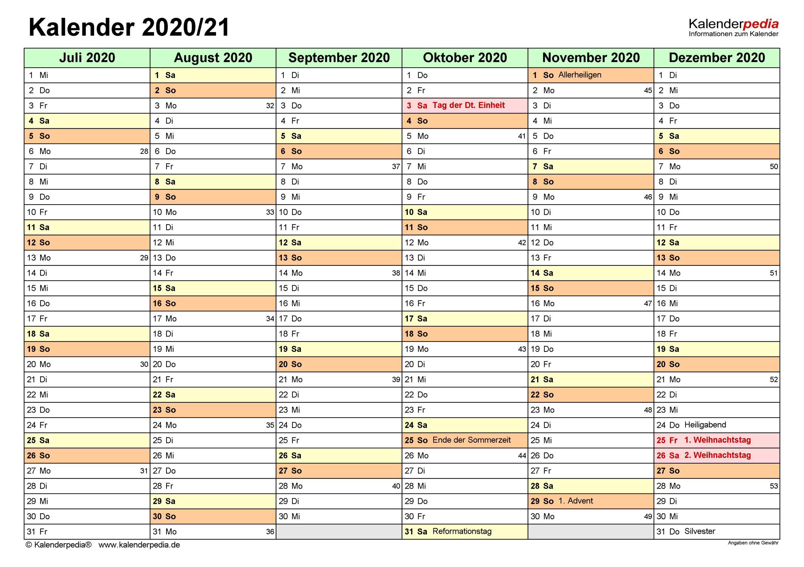 Halbjahreskalender 2020/2021 Als Word-Vorlagen Zum Ausdrucken