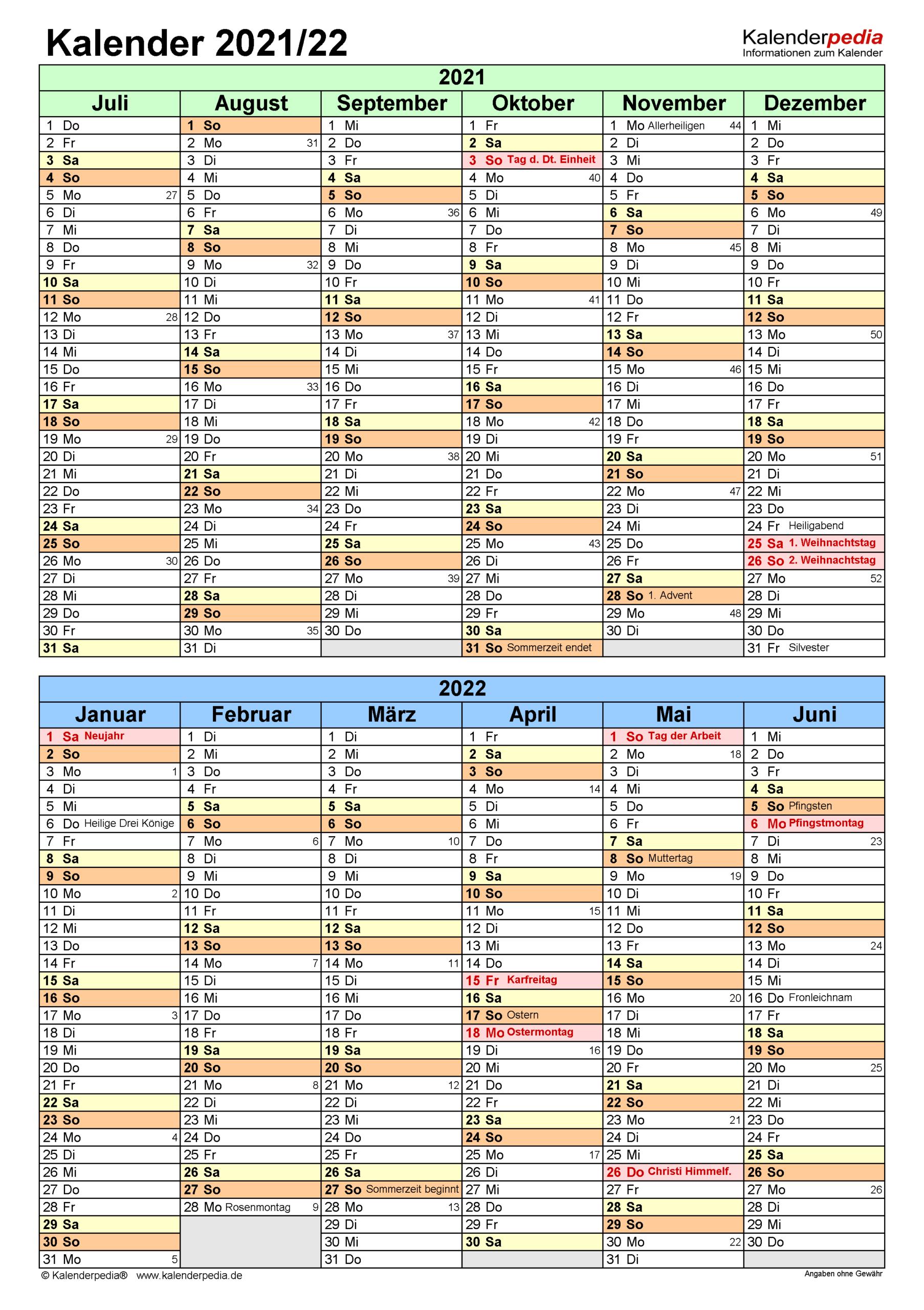 Halbjahreskalender 2021/2022 Als Word-Vorlagen Zum Ausdrucken