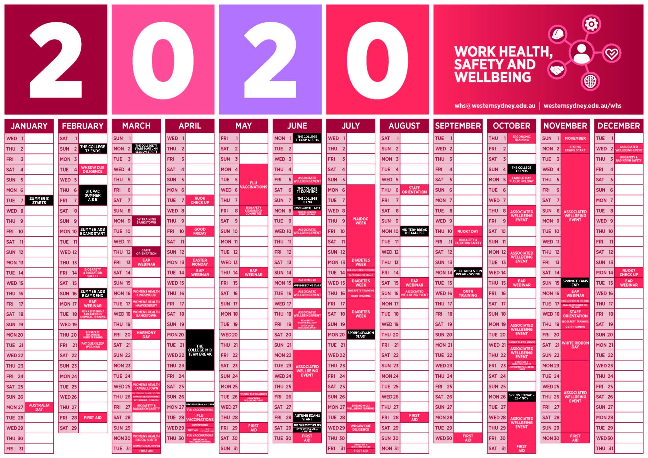 Health And Wellbeing Calendar | Western Sydney University