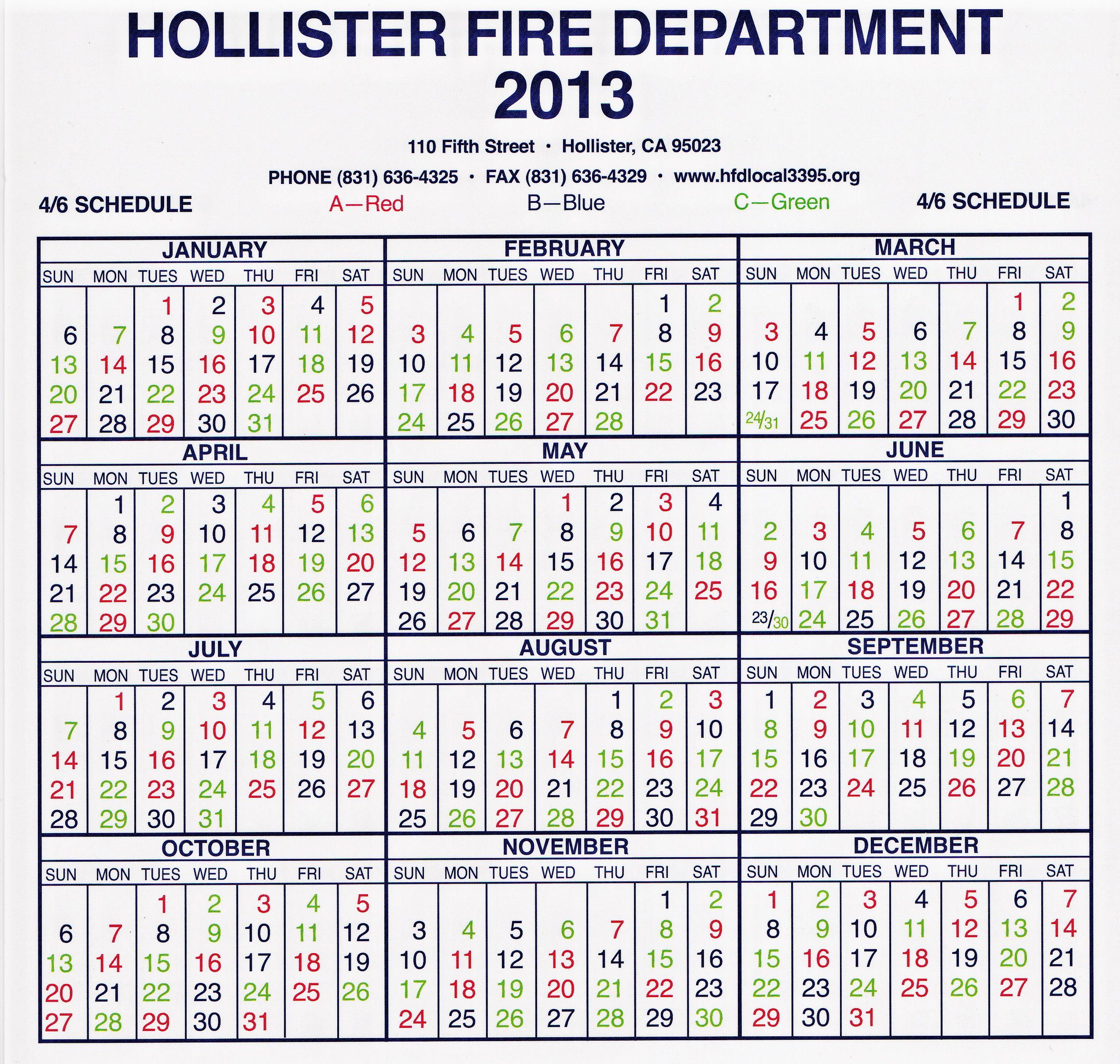 Hollister Fire Department Local 3395 - Shift Calendar