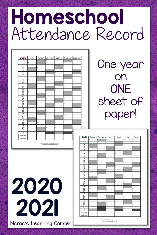 Homeschool Attendance Record 2020-2021   Homeschool
