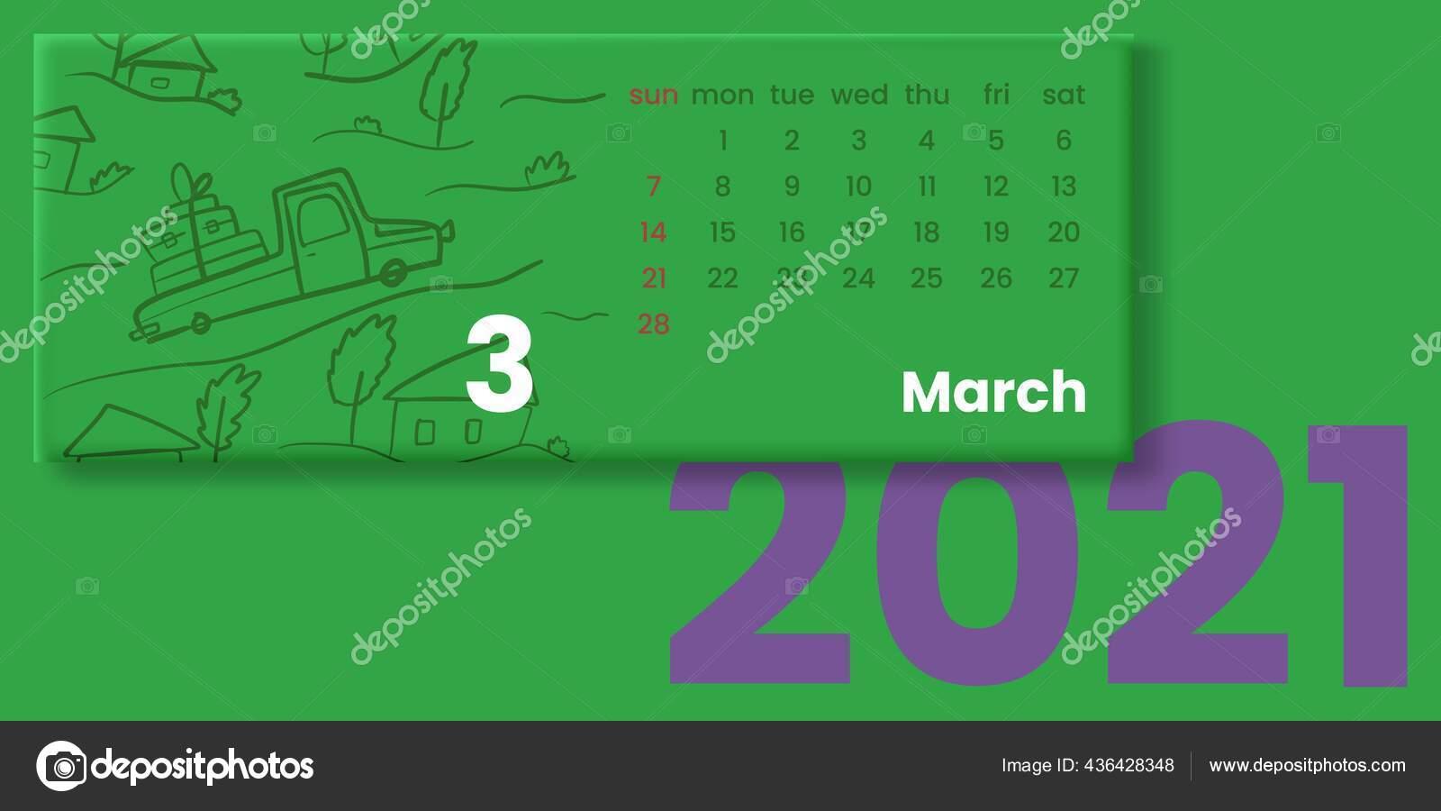 Ilustrasi Vektor Kalender 2021 — Stok Vektor © Symkin #436428348