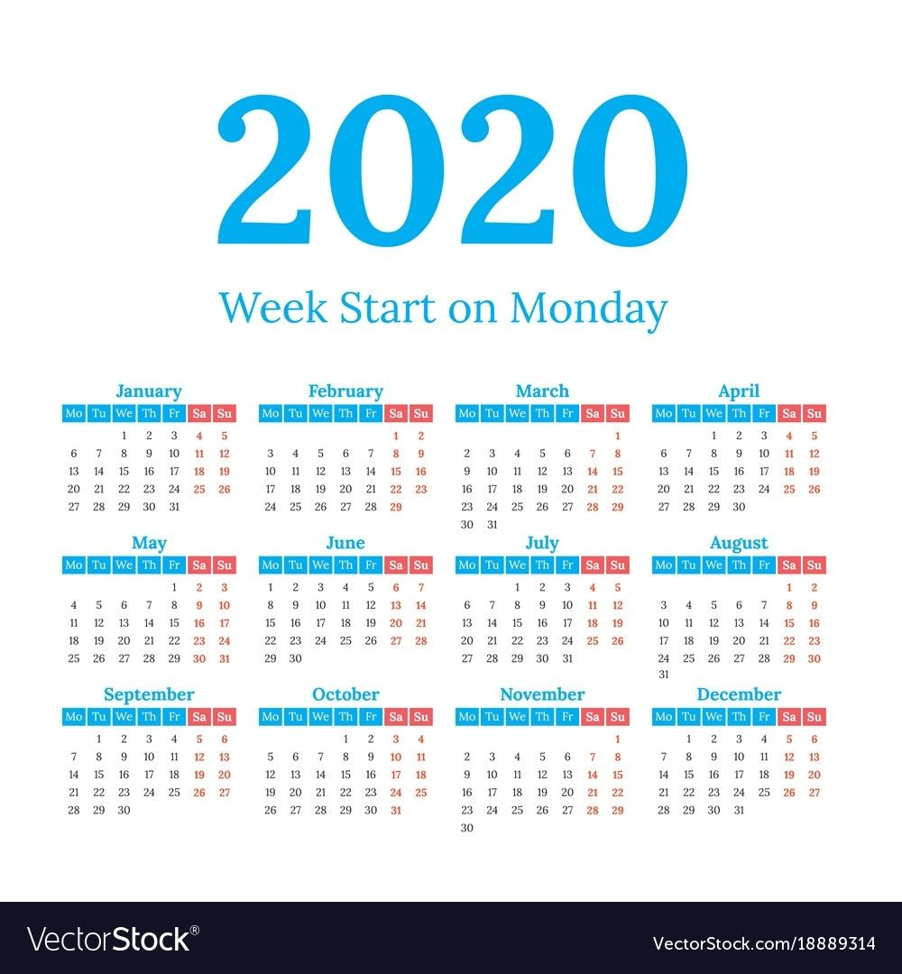 Impressive 2020 Calendar Free Vector In 2020 | Calendar