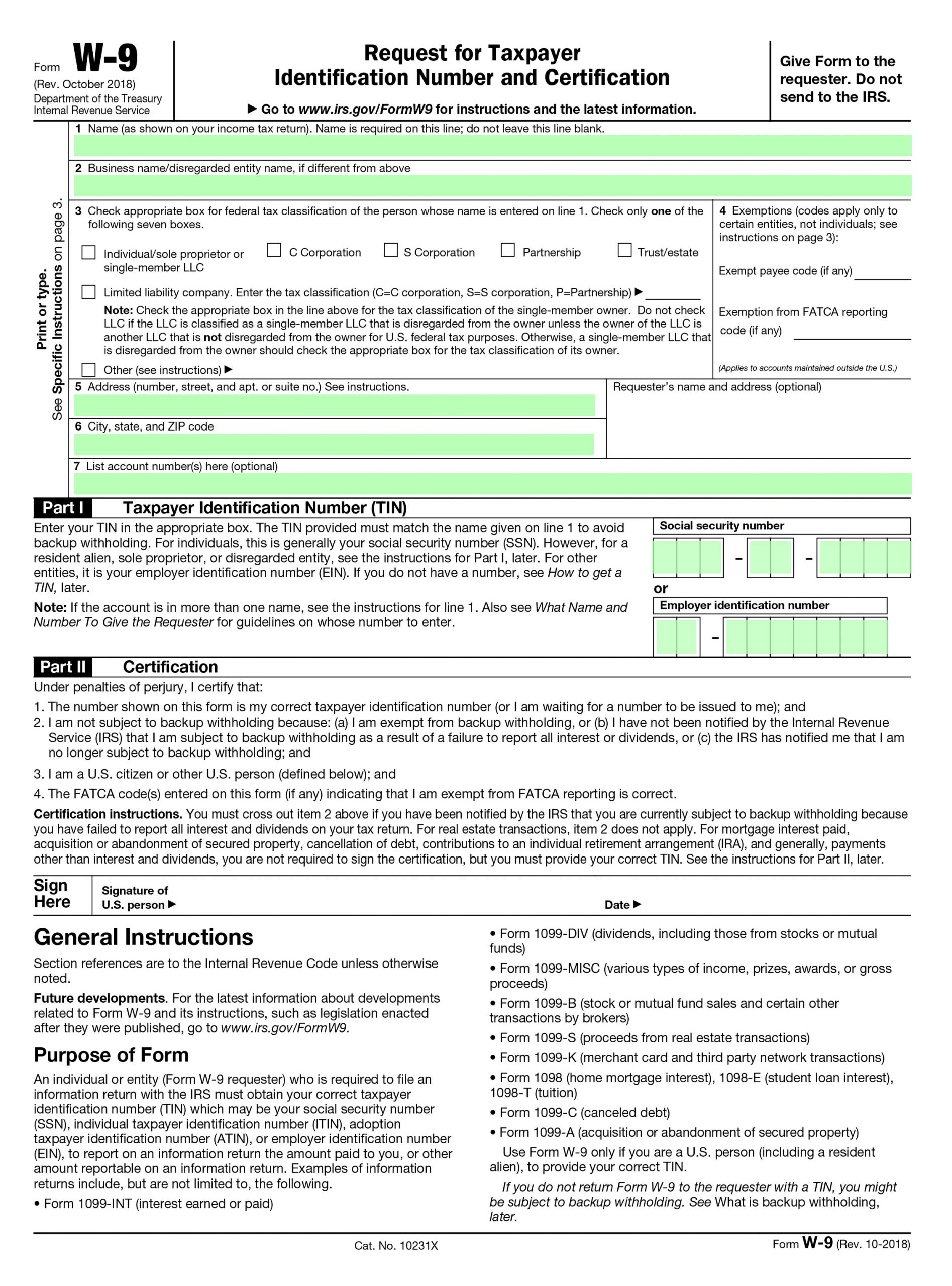 Irs Form W 9 Printable Download – Custom Wallpapeer