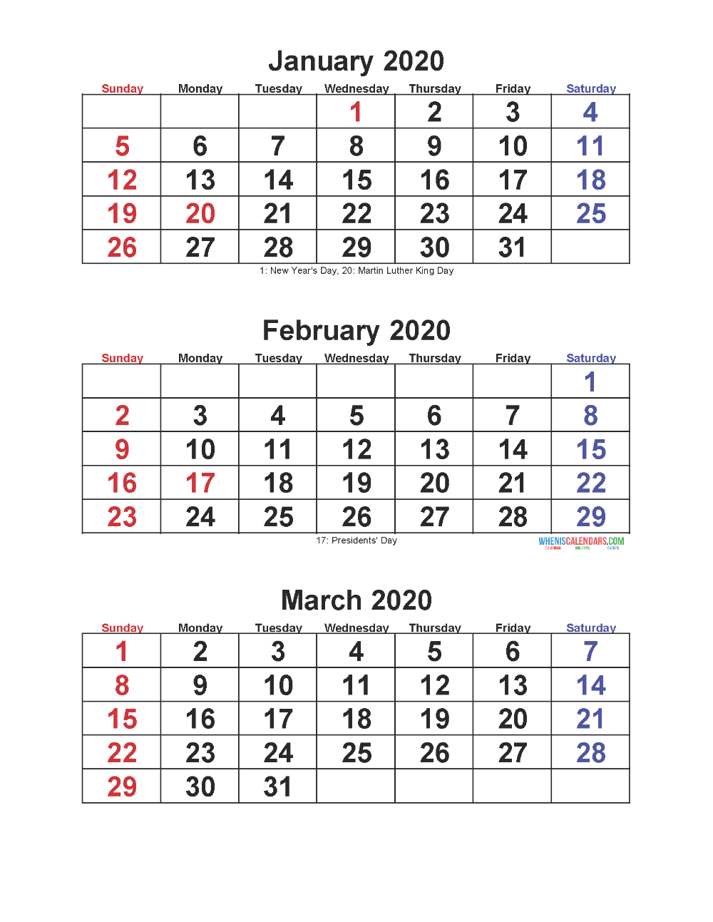 Jan Feb Mar 2020 Calendar 3 Months Per Page | Free Printable
