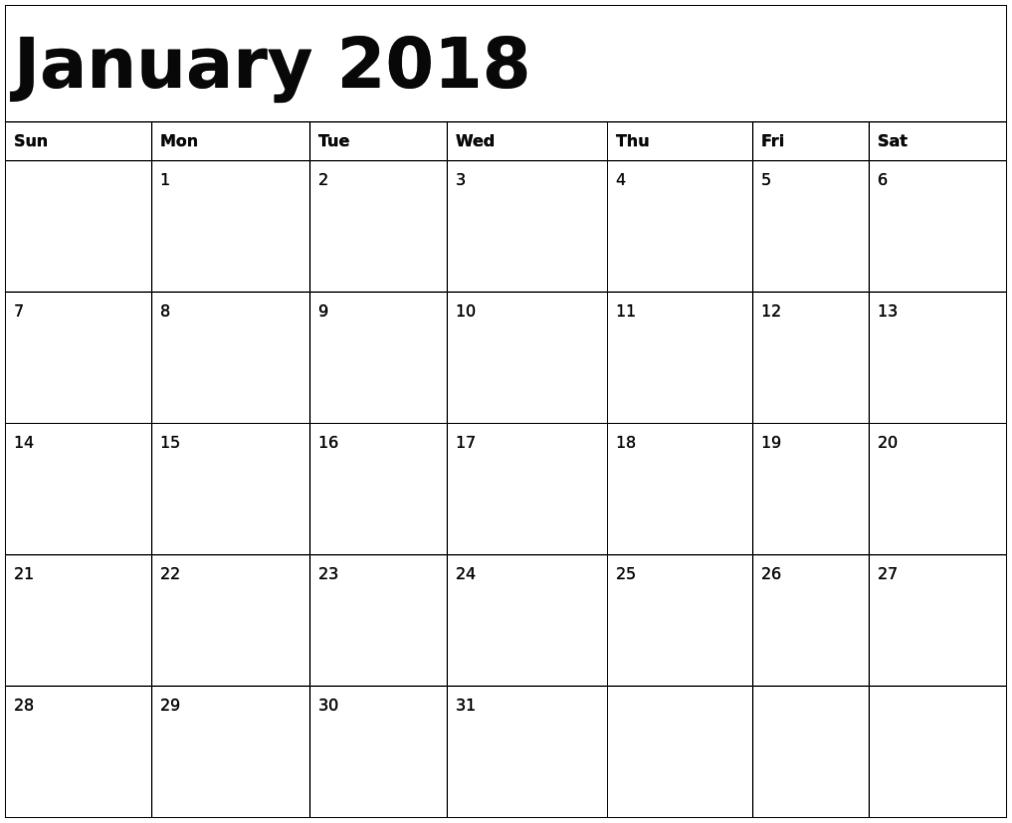 January 2018 Calendar Fillable | Free Printable Calendar