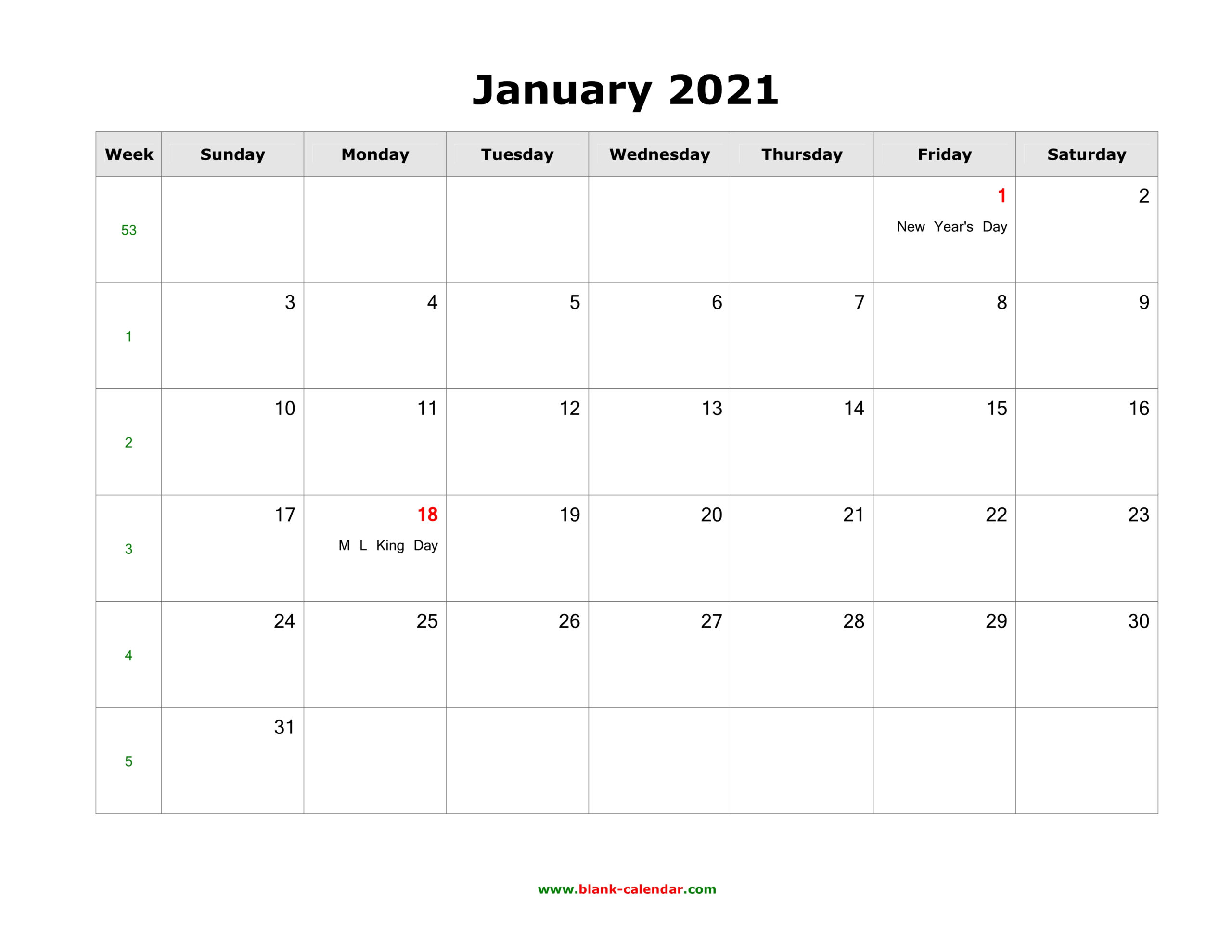 January 2021 Blank Calendar   Free Download Calendar Templates
