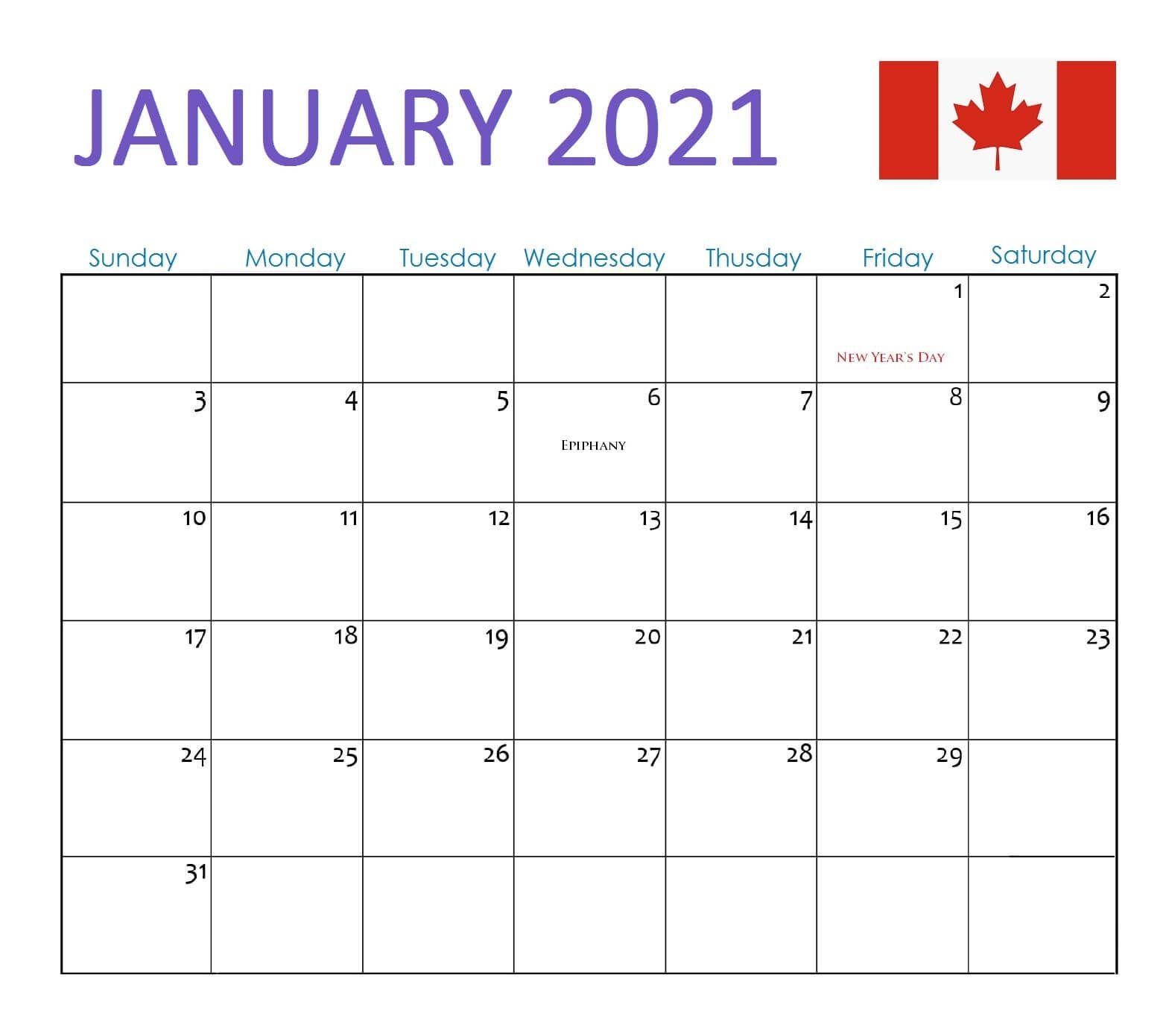 January 2021 Calendar Canada With Holidays   2021 Calendar