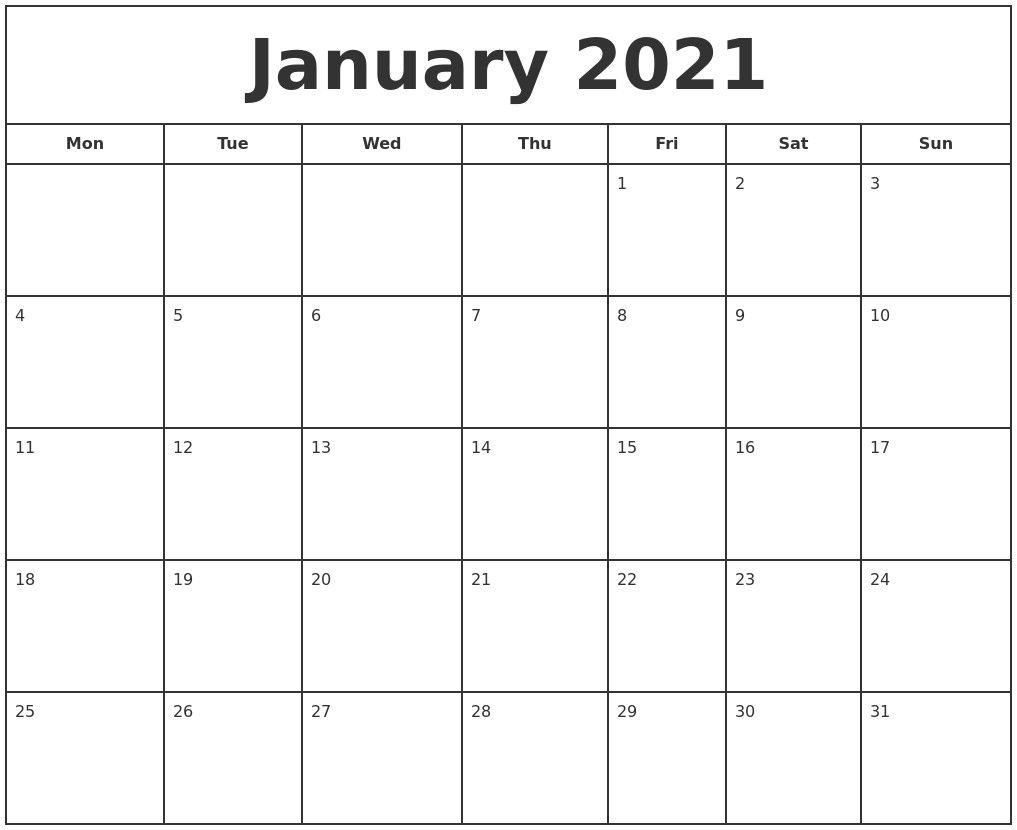 January 2021 Print Free Calendar In 2021   Print Calendar
