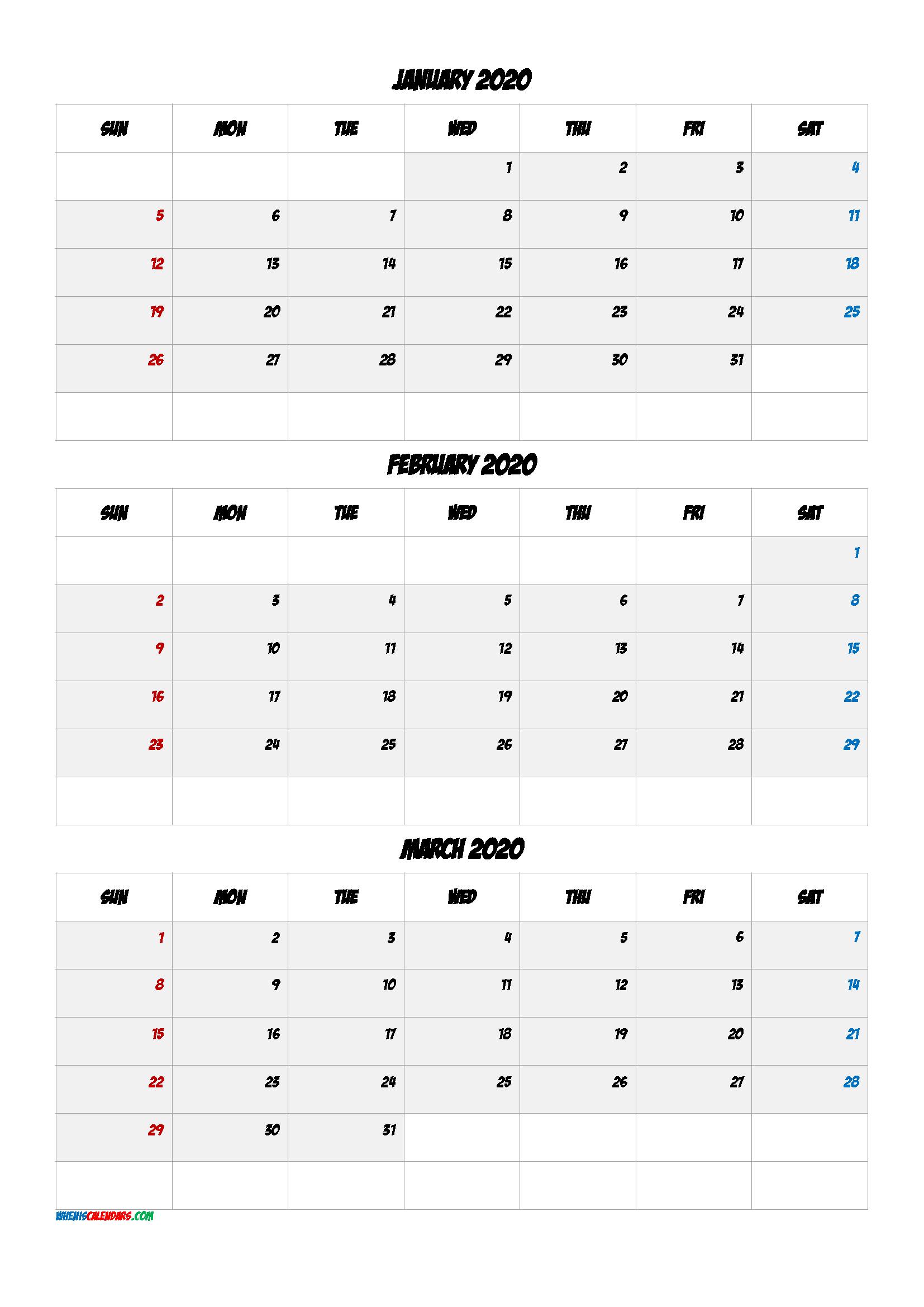 January February March 2021 Three Month Calendar-No.m21Bd6