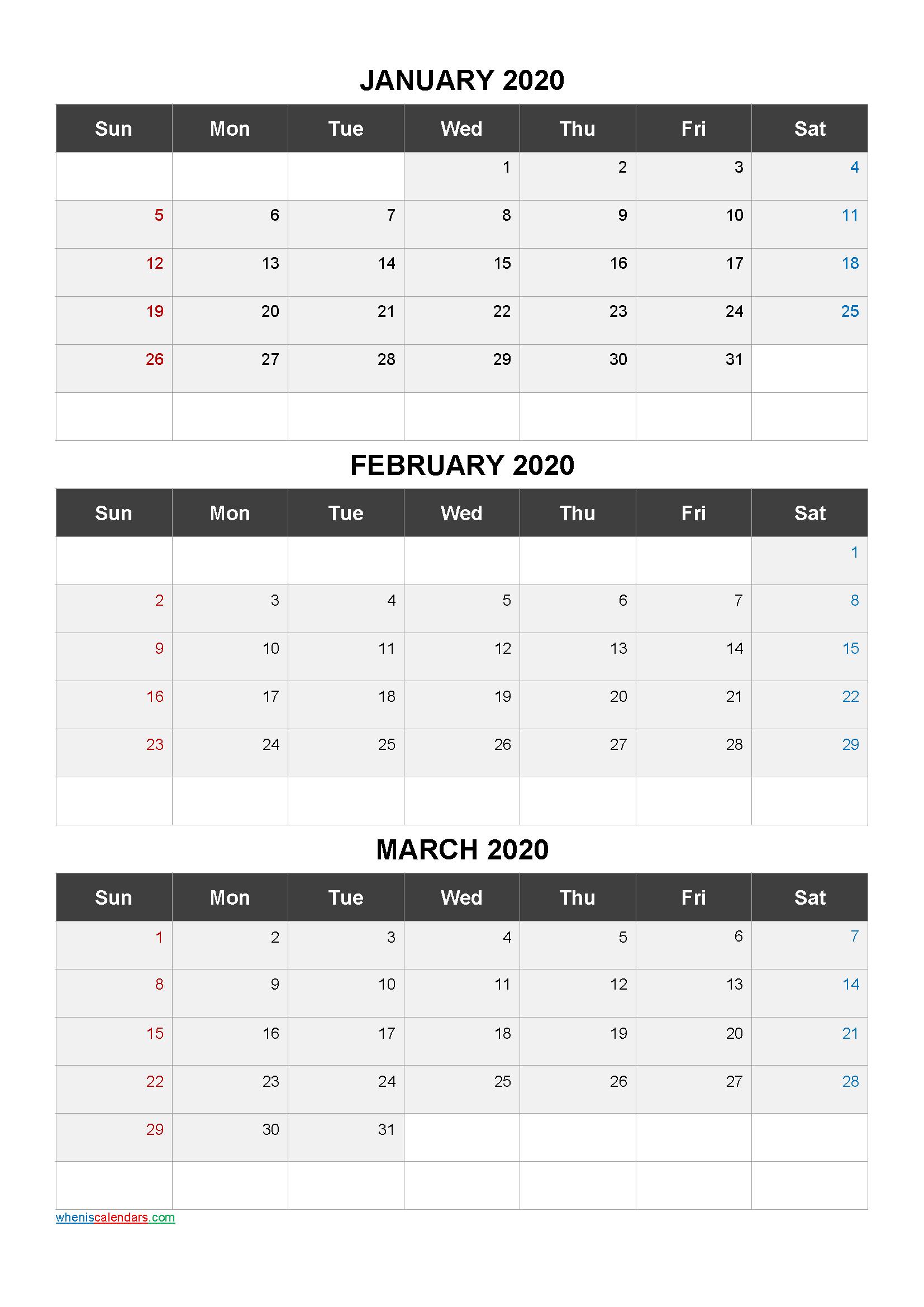 January February March 3 Month Printable Calendar 2021-21Ar3