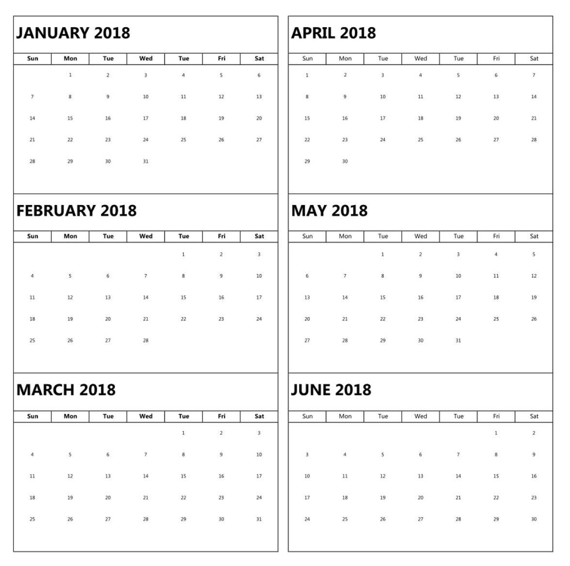 January To June 6 Months Calendar 2018   Blank Calendar
