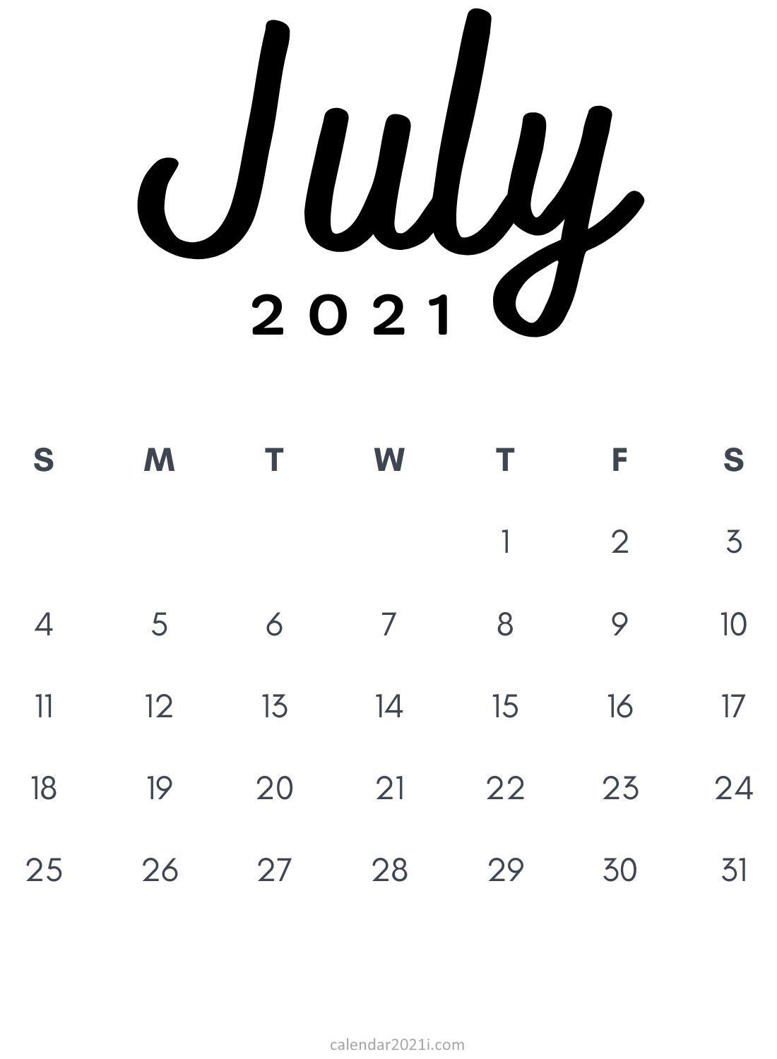 July 2021 Minimalist Printable Calendar Monthly Template In