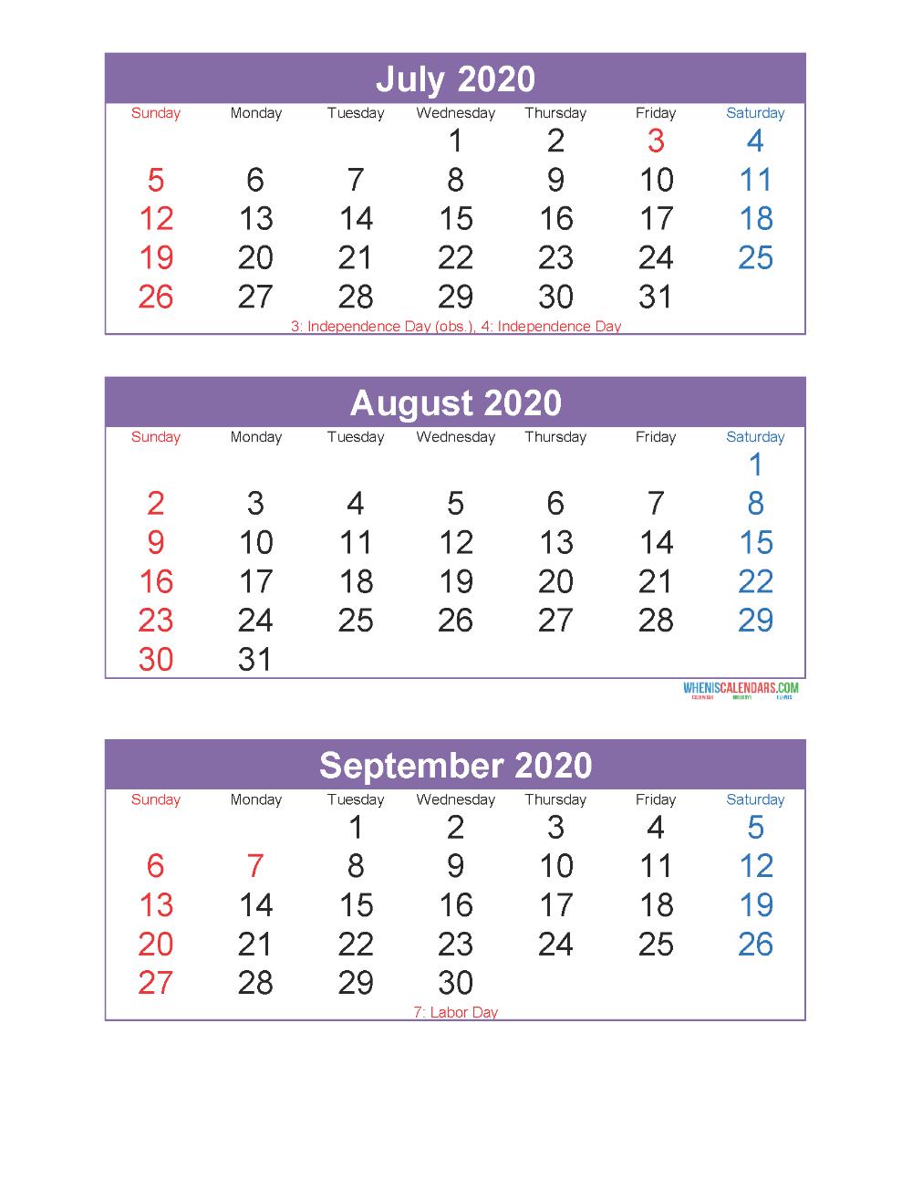 July August September 2020 Calendar 3 Months Per Page