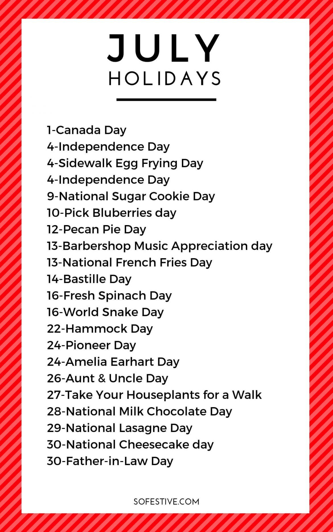 July Holidays 2021- Unique & Fun Holidays   So Festive