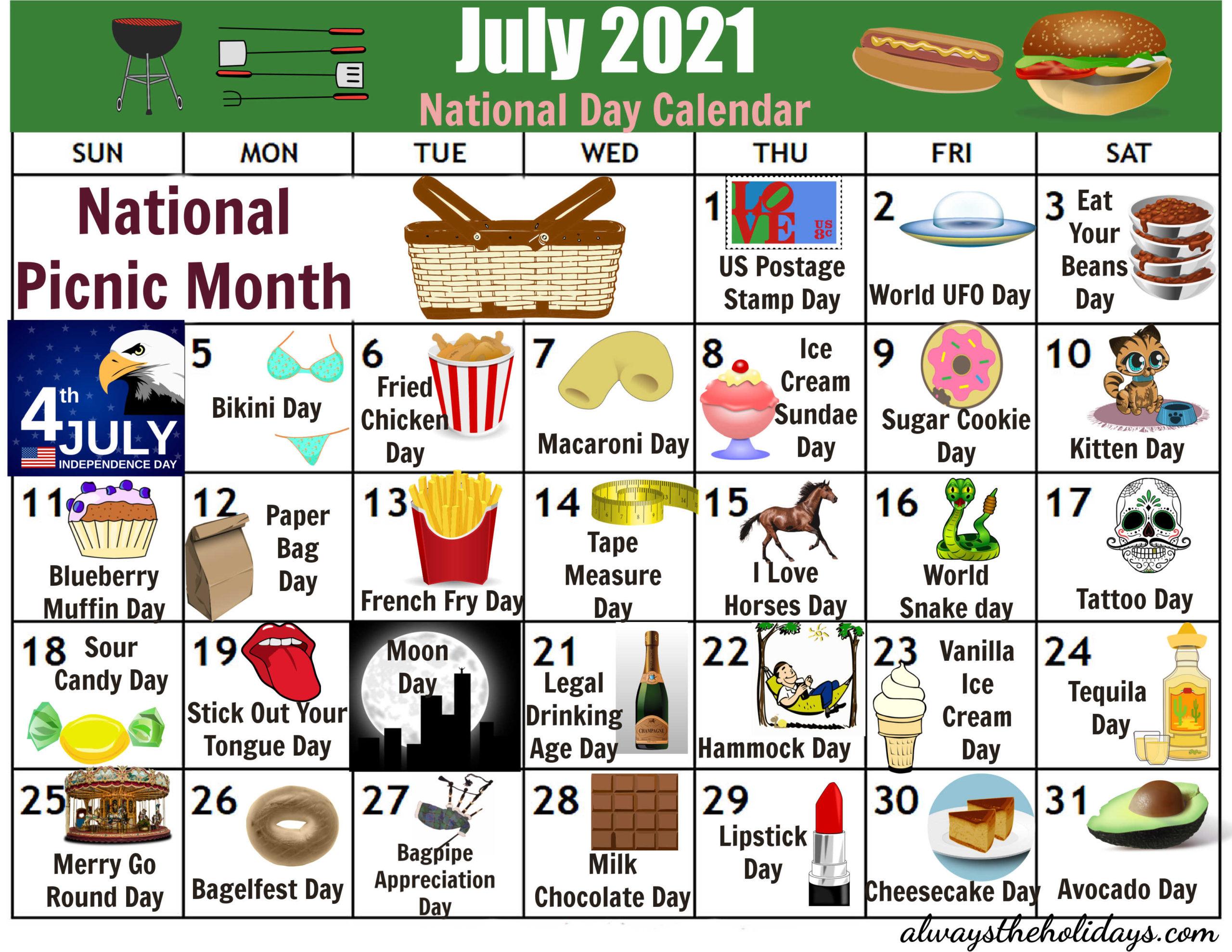 July National Day Calendar - Free Printable - 2021