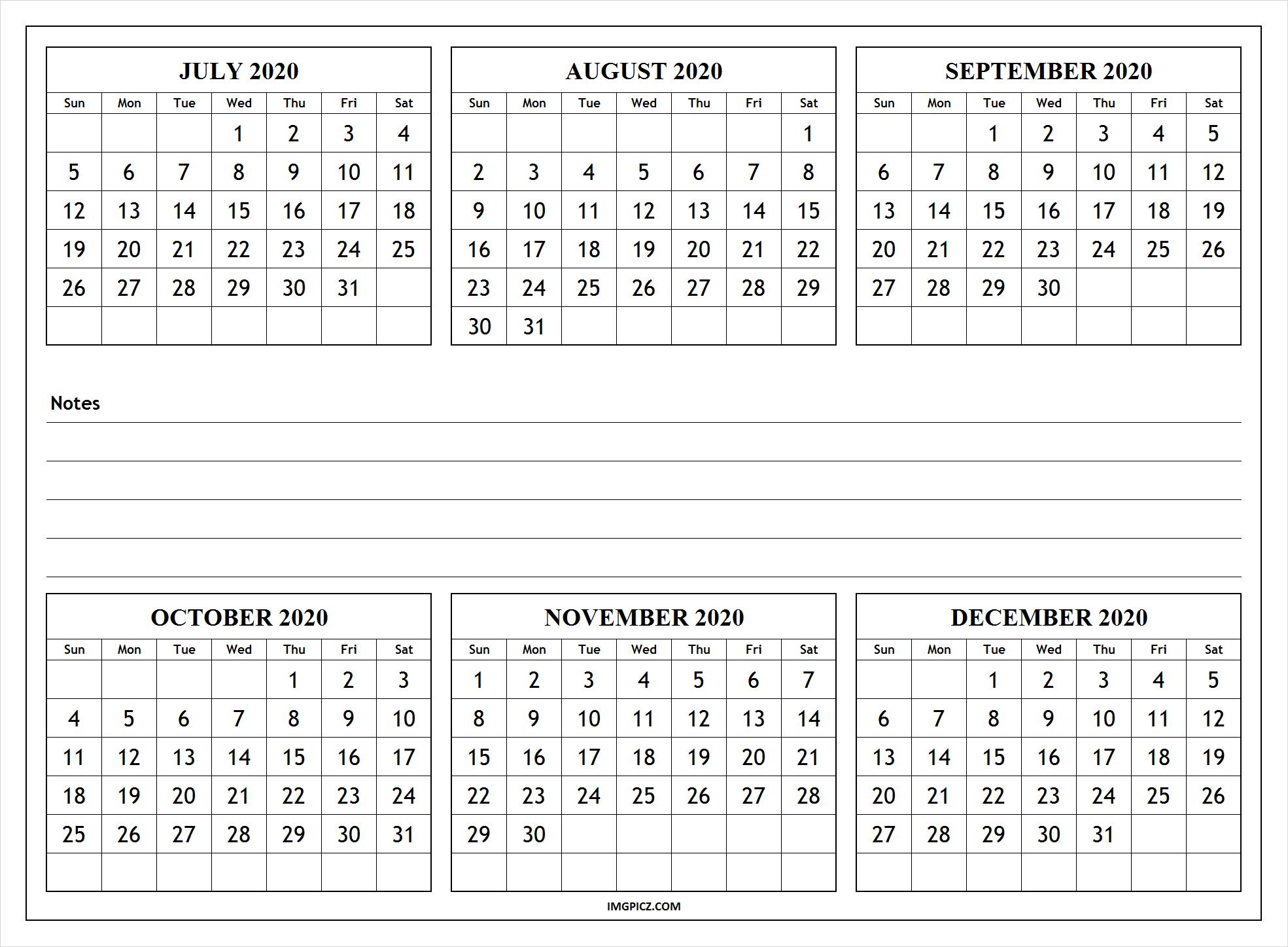 July To December 2020 Calendar Template   6 Months 2020 Calendar