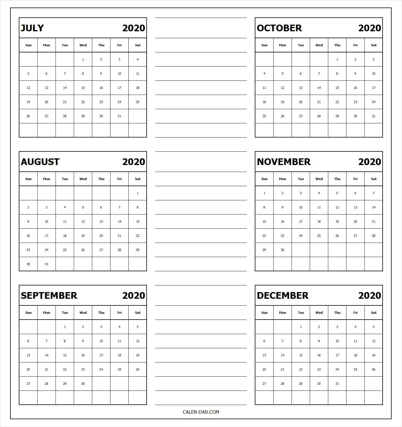 July To December Calendar 2020 Pages For Tumblr, Pinterest